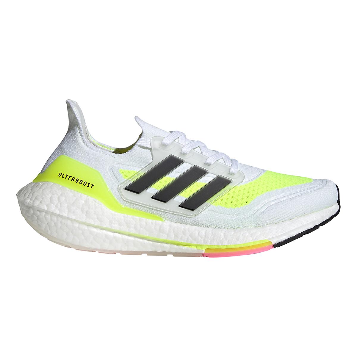 Women's Adidas Ultraboost 21 Running Shoe - Color: Cloud White/Black/Solar Yellow - Size: 5 - Width: Regular, Cloud White/Black/Solar Yellow, large, image 1