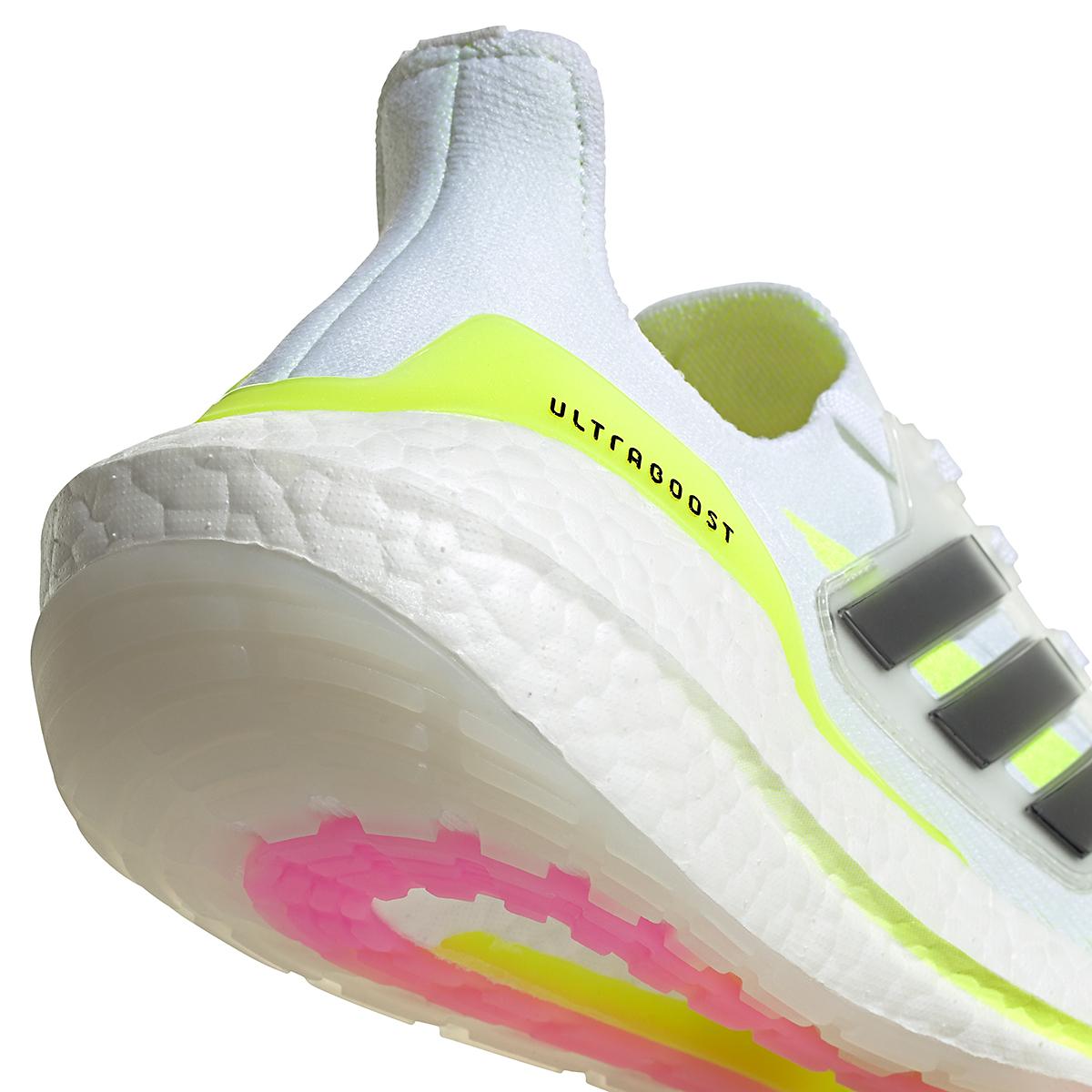 Women's Adidas Ultraboost 21 Running Shoe - Color: Cloud White/Black/Solar Yellow - Size: 5 - Width: Regular, Cloud White/Black/Solar Yellow, large, image 3