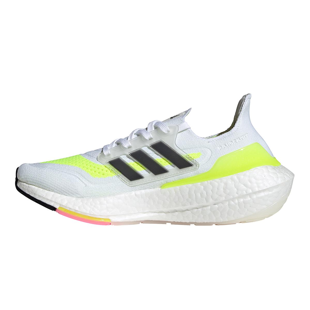 Women's Adidas Ultraboost 21 Running Shoe - Color: Cloud White/Black/Solar Yellow - Size: 5 - Width: Regular, Cloud White/Black/Solar Yellow, large, image 5