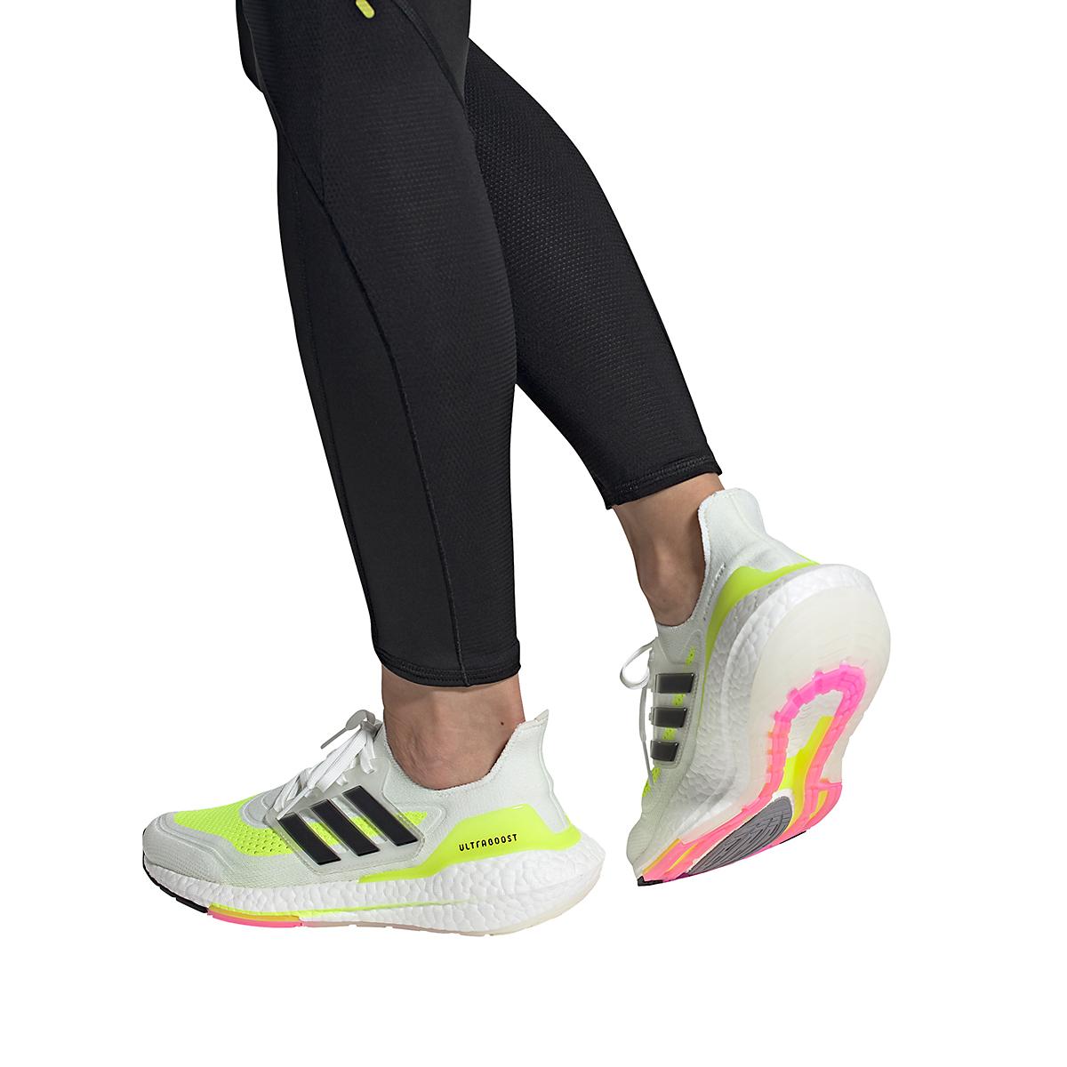 Women's Adidas Ultraboost 21 Running Shoe - Color: Cloud White/Black/Solar Yellow - Size: 5 - Width: Regular, Cloud White/Black/Solar Yellow, large, image 7