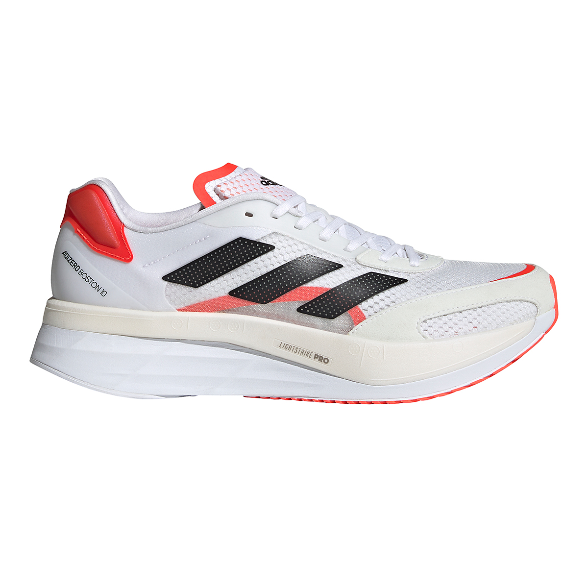 Men's Adidas Adizero Boston 10 Running Shoe - Color: Black/White/Solar Red - Size: 7 - Width: Regular, Black/White/Solar Red, large, image 1