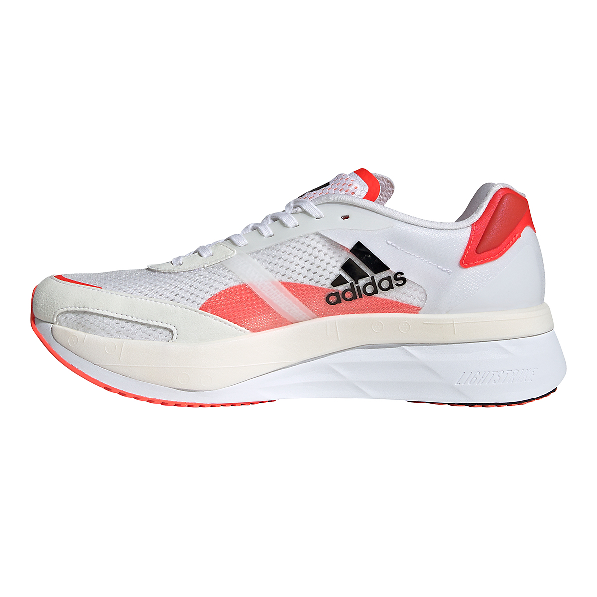 Men's Adidas Adizero Boston 10 Running Shoe - Color: Black/White/Solar Red - Size: 7 - Width: Regular, Black/White/Solar Red, large, image 2