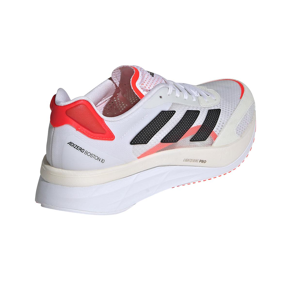Men's Adidas Adizero Boston 10 Running Shoe - Color: Black/White/Solar Red - Size: 7 - Width: Regular, Black/White/Solar Red, large, image 4