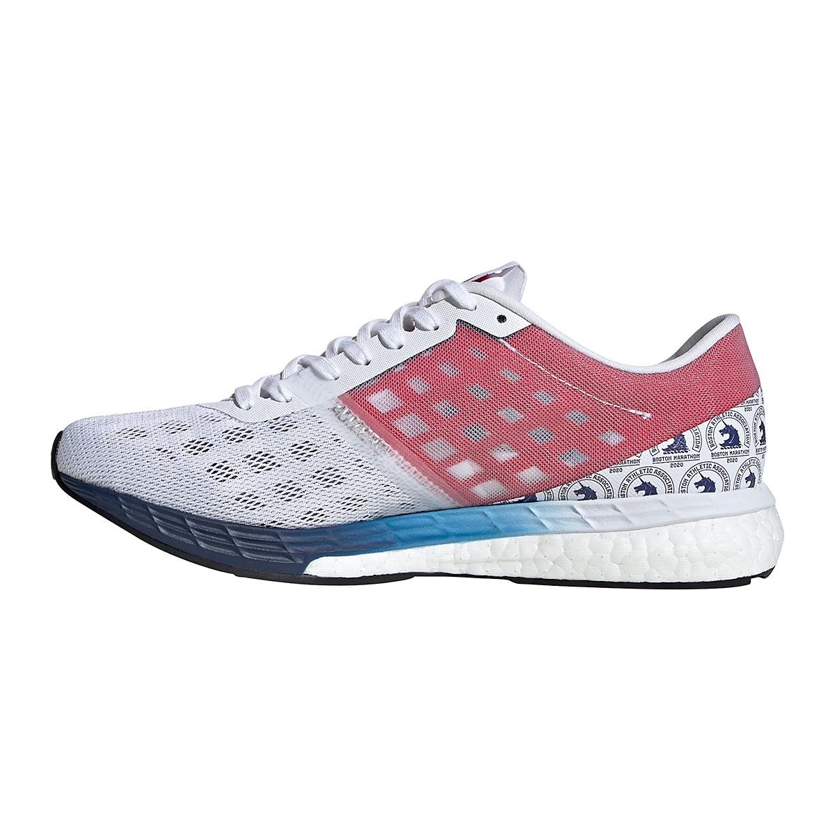 Women's Adidas Adizero Boston 9 Running Shoe - Color: Cloud White/Silver Metallic/Scarlet - Size: 6.5 - Width: Regular, Cloud White/Silver Metallic/Scarlet, large, image 2