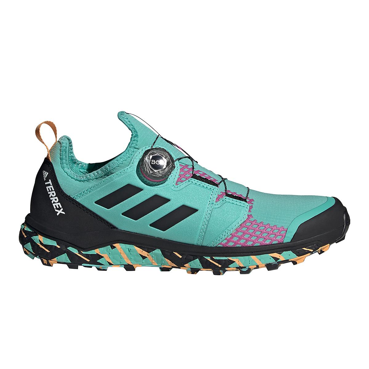 Men's Adidas Terrex Agravic BOA Trail Running Shoe - Color: Acid Mint/Core Black/Screaming Pink - Size: 6 - Width: Regular, Acid Mint/Core Black/Screaming Pink, large, image 1