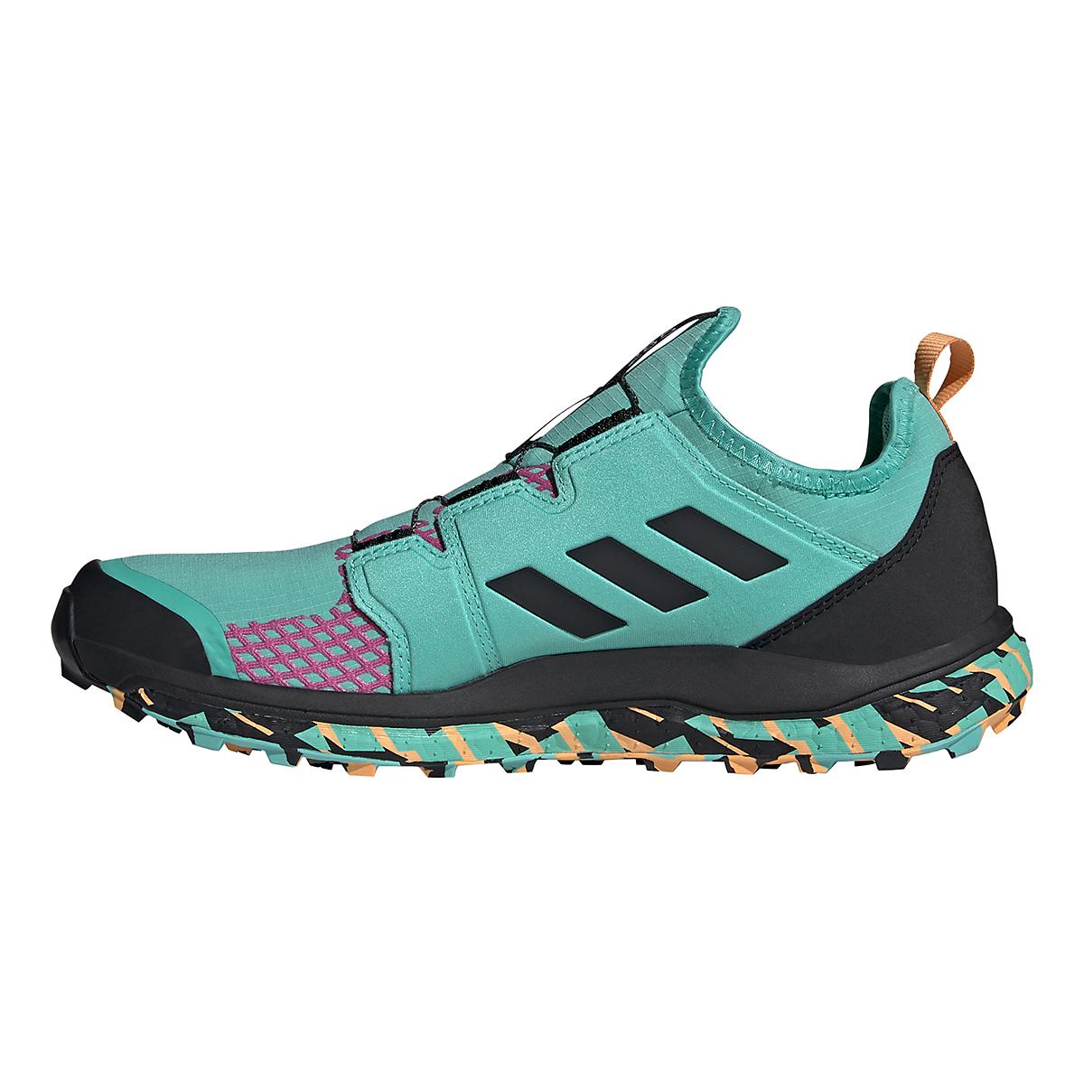 Men's Adidas Terrex Agravic BOA Trail Running Shoe - Color: Acid Mint/Core Black/Screaming Pink - Size: 6 - Width: Regular, Acid Mint/Core Black/Screaming Pink, large, image 2