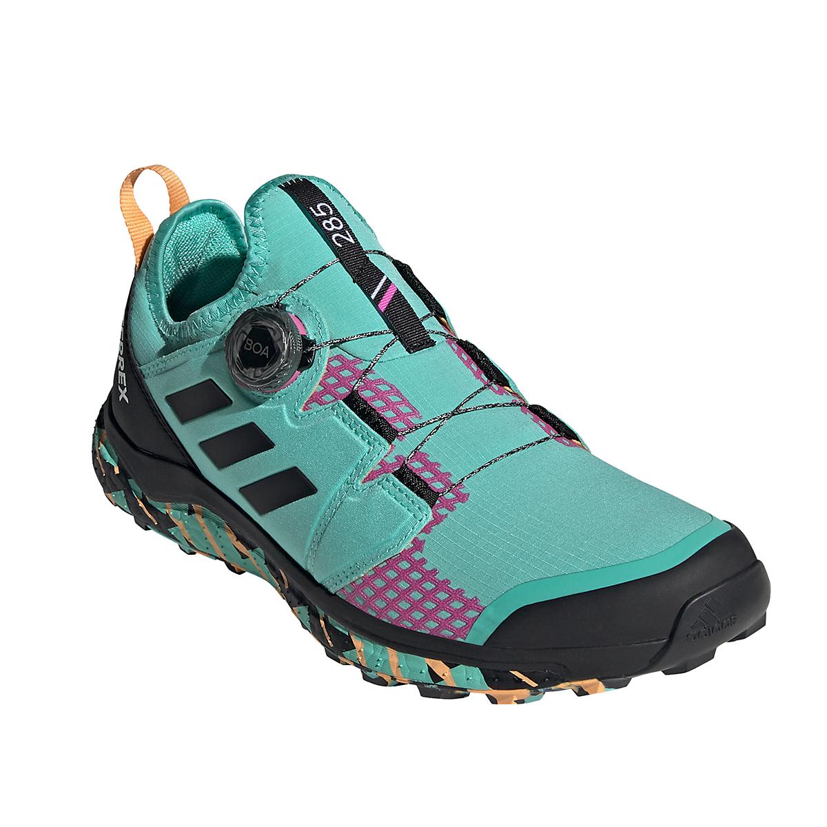 Men's Adidas Terrex Agravic BOA Trail Running Shoe - Color: Acid Mint/Core Black/Screaming Pink - Size: 6 - Width: Regular, Acid Mint/Core Black/Screaming Pink, large, image 3