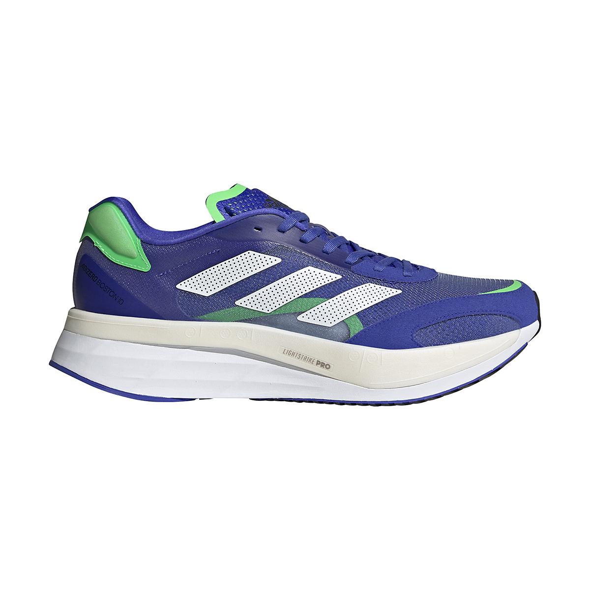 Men's Adidas Adizero Boston 10 Running Shoe - Color: Sonic Ink/White/Screaming Green - Size: 6.5 - Width: Regular, Sonic Ink/White/Screaming Green, large, image 1