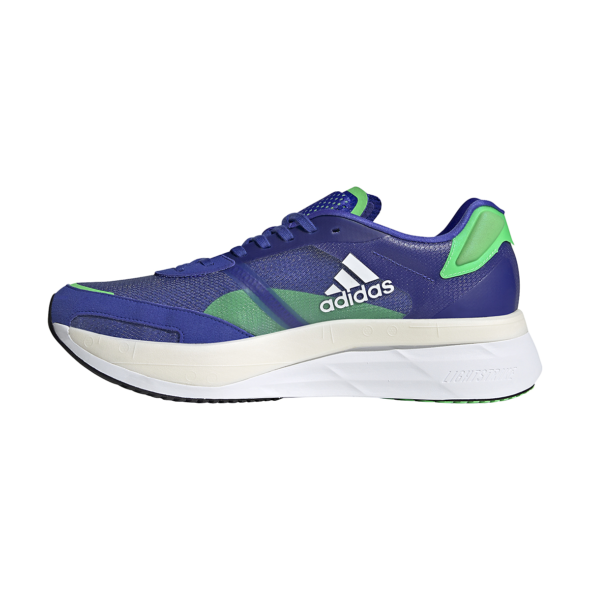 Men's Adidas Adizero Boston 10 Running Shoe - Color: Sonic Ink/White/Screaming Green - Size: 6.5 - Width: Regular, Sonic Ink/White/Screaming Green, large, image 2