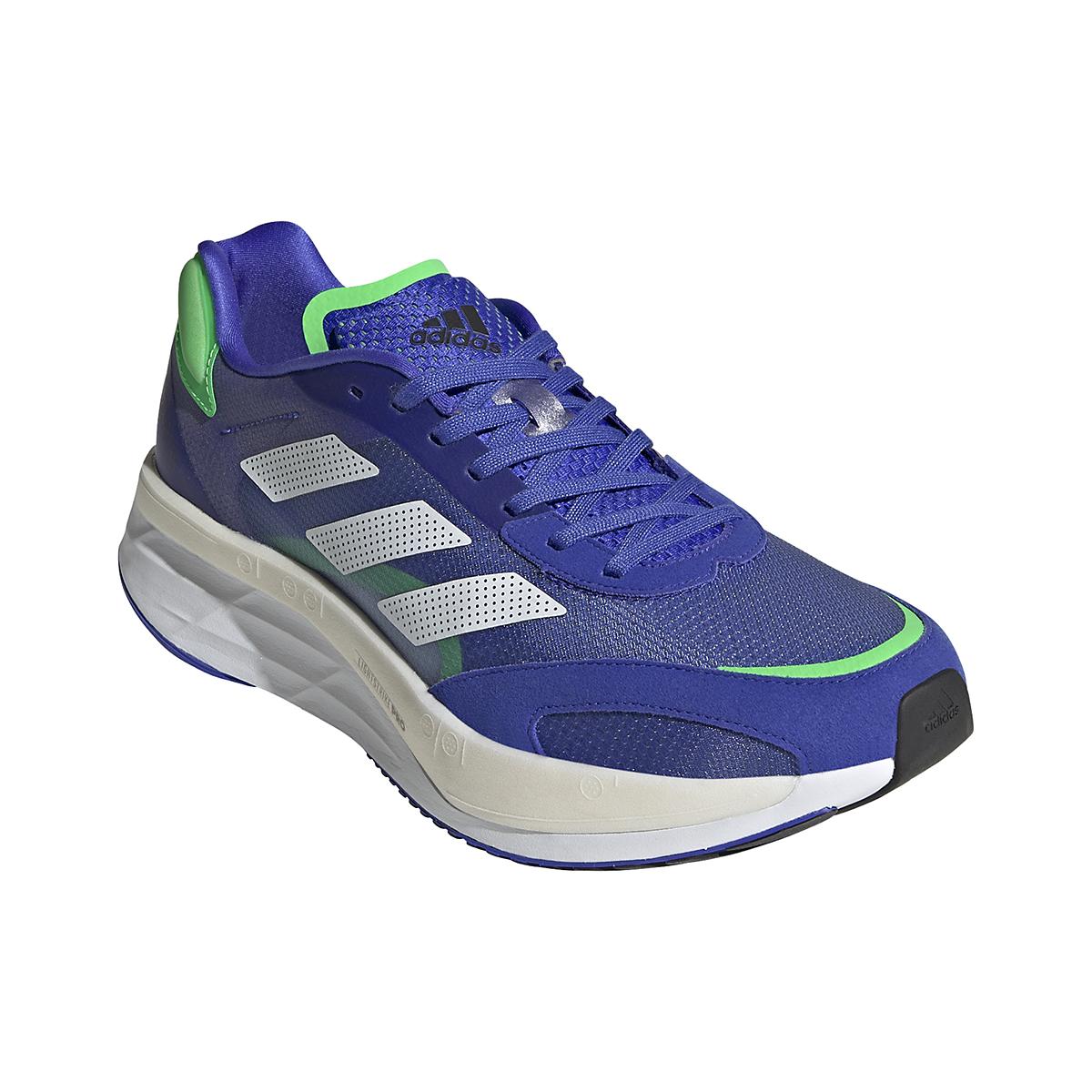 Men's Adidas Adizero Boston 10 Running Shoe - Color: Sonic Ink/White/Screaming Green - Size: 6.5 - Width: Regular, Sonic Ink/White/Screaming Green, large, image 3