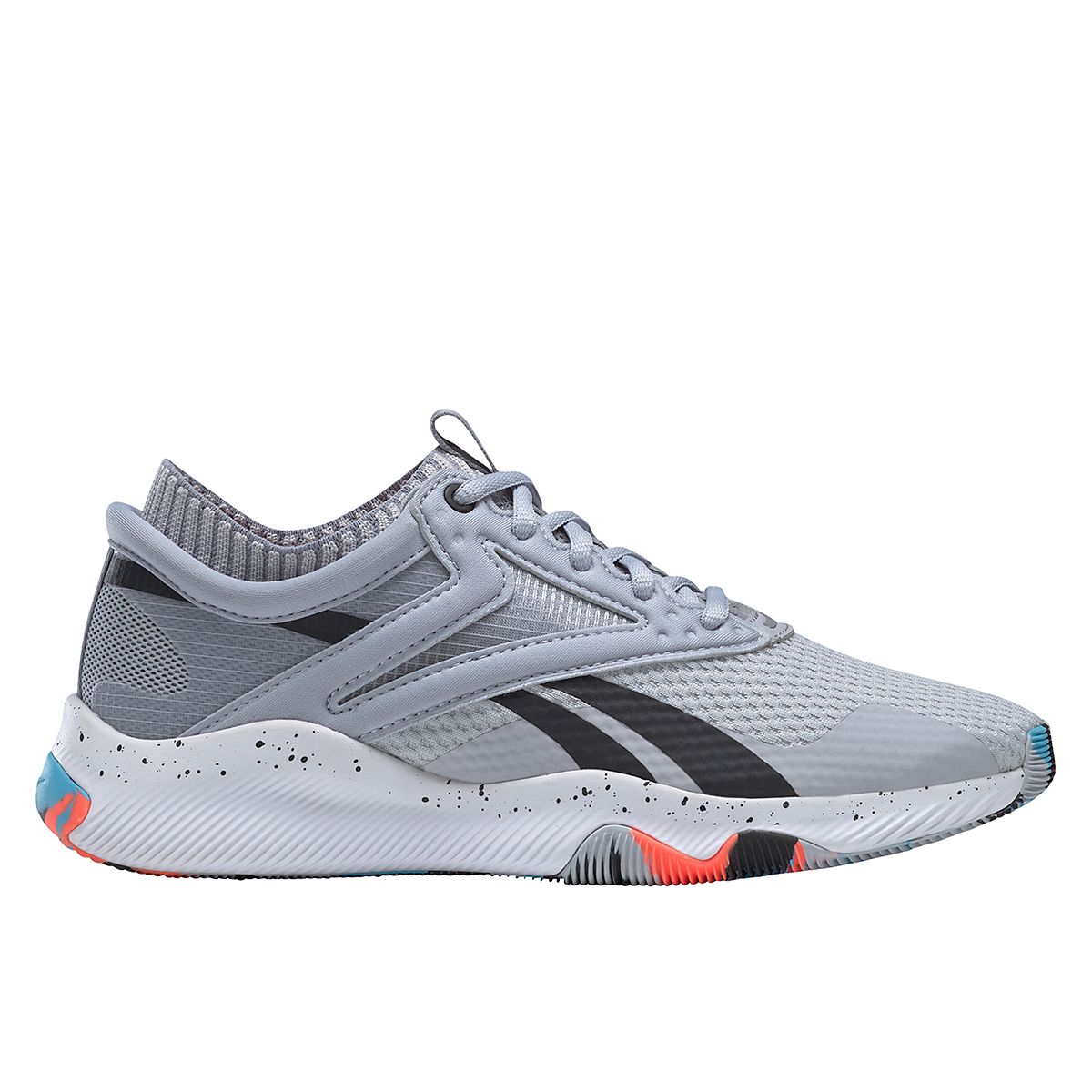 Women's Reebok HIIT TR Training Shoes - Color: Cold Grey 2/Orange Flare /Radiant Aqua - Size: 5 - Width: Regular, Cold Grey 2/Orange Flare /Radiant Aqua, large, image 1