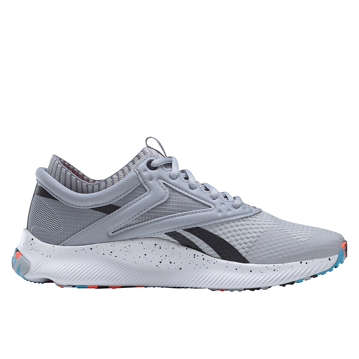 Women's Reebok HIIT TR Training Shoes - Color: Cold Grey 2/Orange Flare /Radiant Aqua - Size: 5 - Width: Regular, Cold Grey 2/Orange Flare /Radiant Aqua, large, image 2