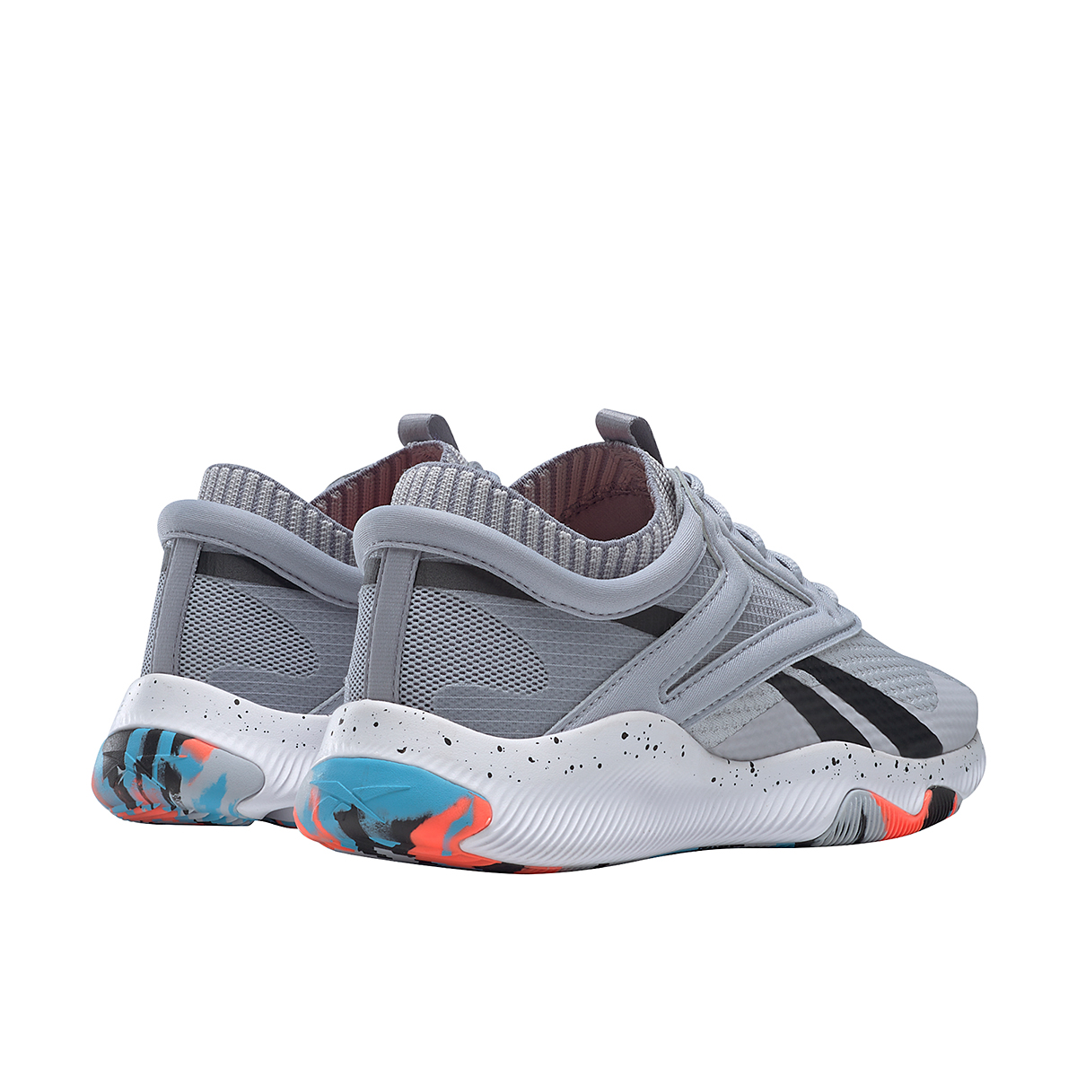 Women's Reebok HIIT TR Training Shoes - Color: Cold Grey 2/Orange Flare /Radiant Aqua - Size: 5 - Width: Regular, Cold Grey 2/Orange Flare /Radiant Aqua, large, image 3