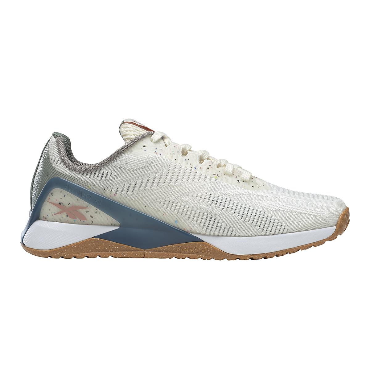 Women's Reebok Nano X1 Vegan Training Shoe - Color: Classic White/Harmony Green/Brave Blue - Size: 5 - Width: Regular, Classic White/Harmony Green/Brave Blue, large, image 1