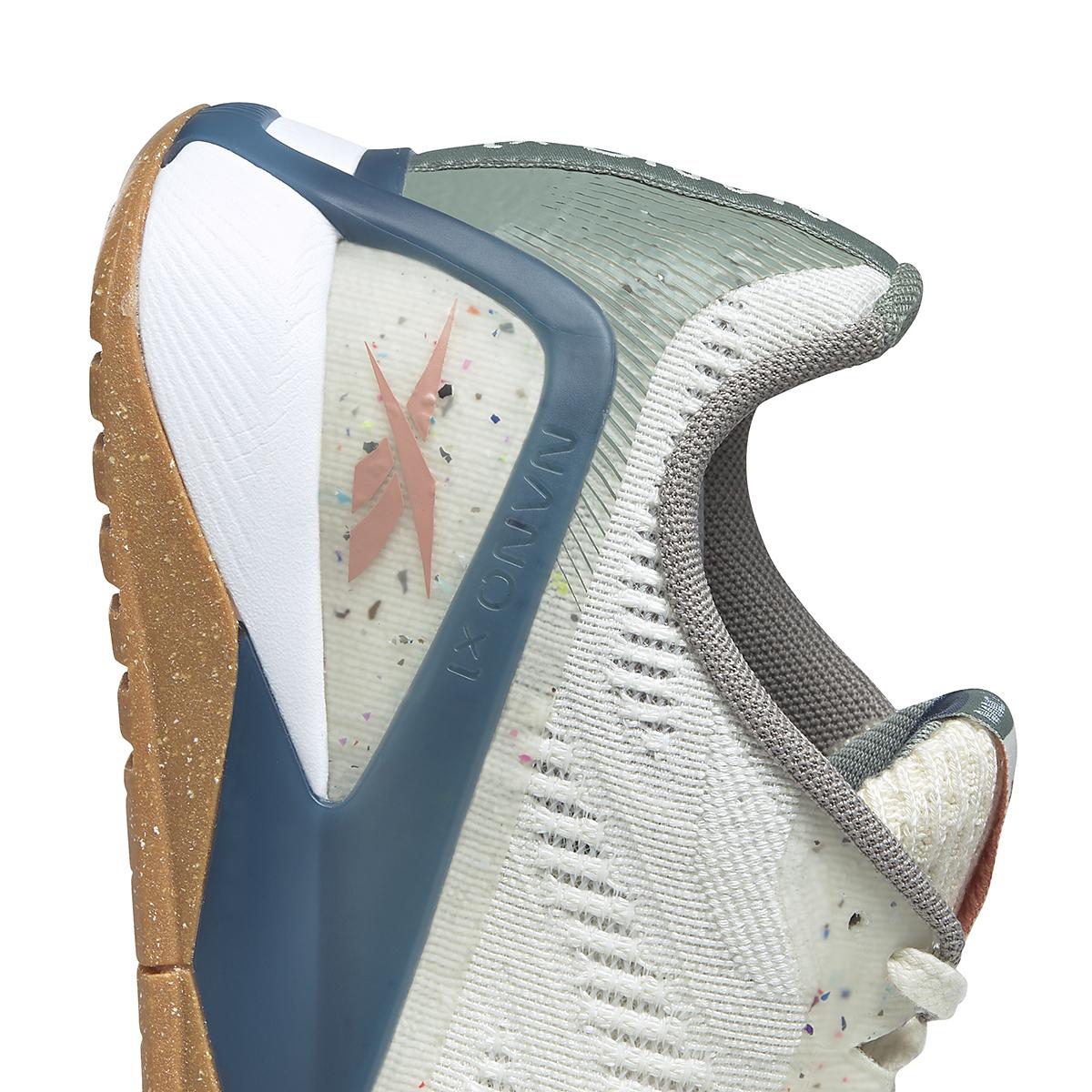 Women's Reebok Nano X1 Vegan Training Shoe - Color: Classic White/Harmony Green/Brave Blue - Size: 5 - Width: Regular, Classic White/Harmony Green/Brave Blue, large, image 4