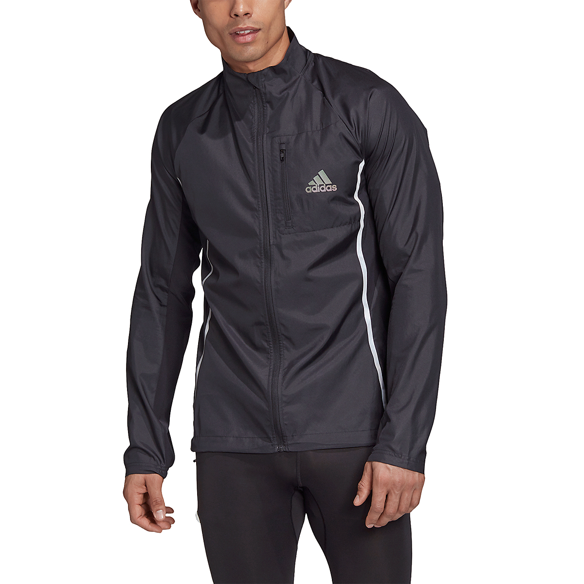 Men's Adidas Runner Night Ready Jacket - Color: Black - Size: S, Black, large, image 1