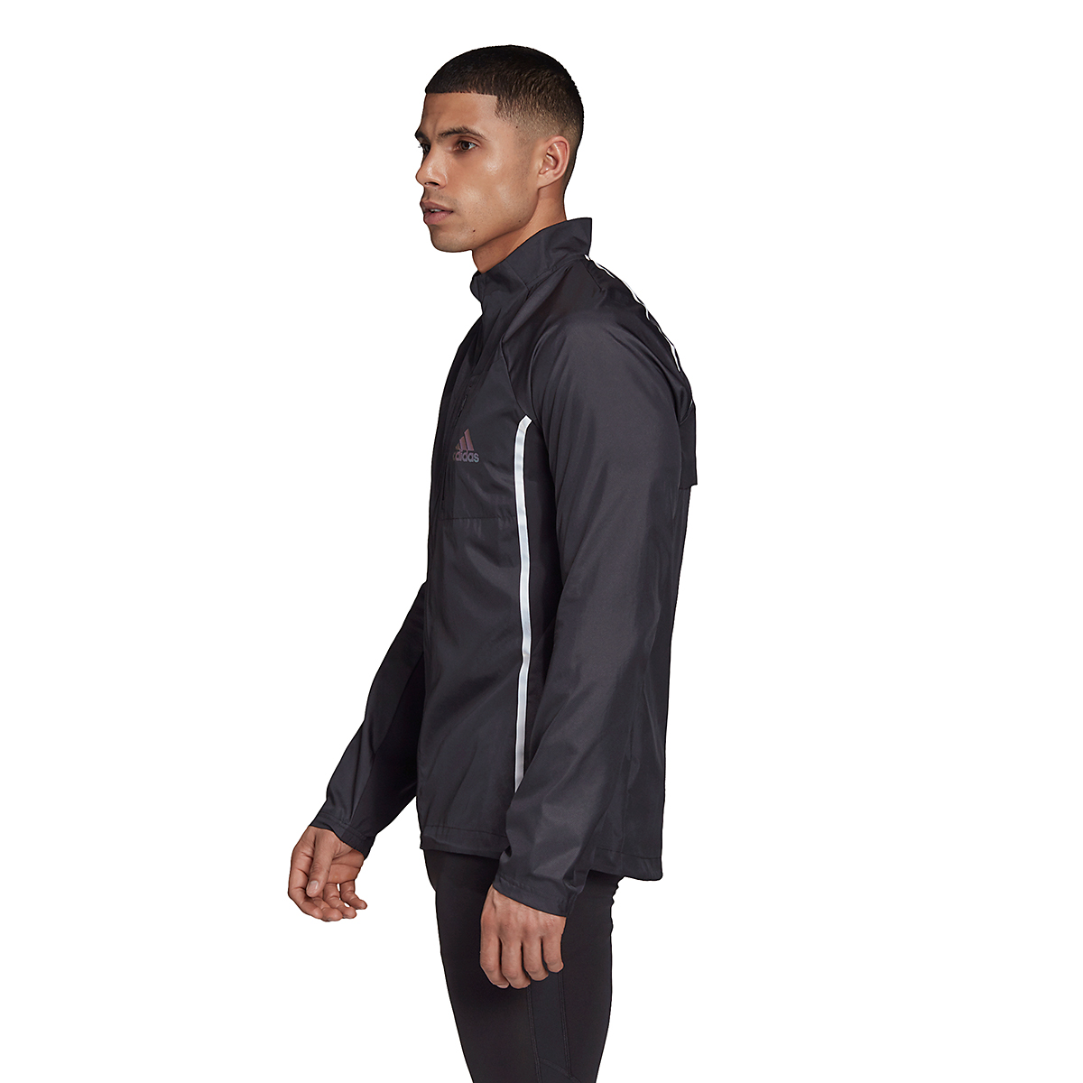 Men's Adidas Runner Night Ready Jacket - Color: Black - Size: S, Black, large, image 2
