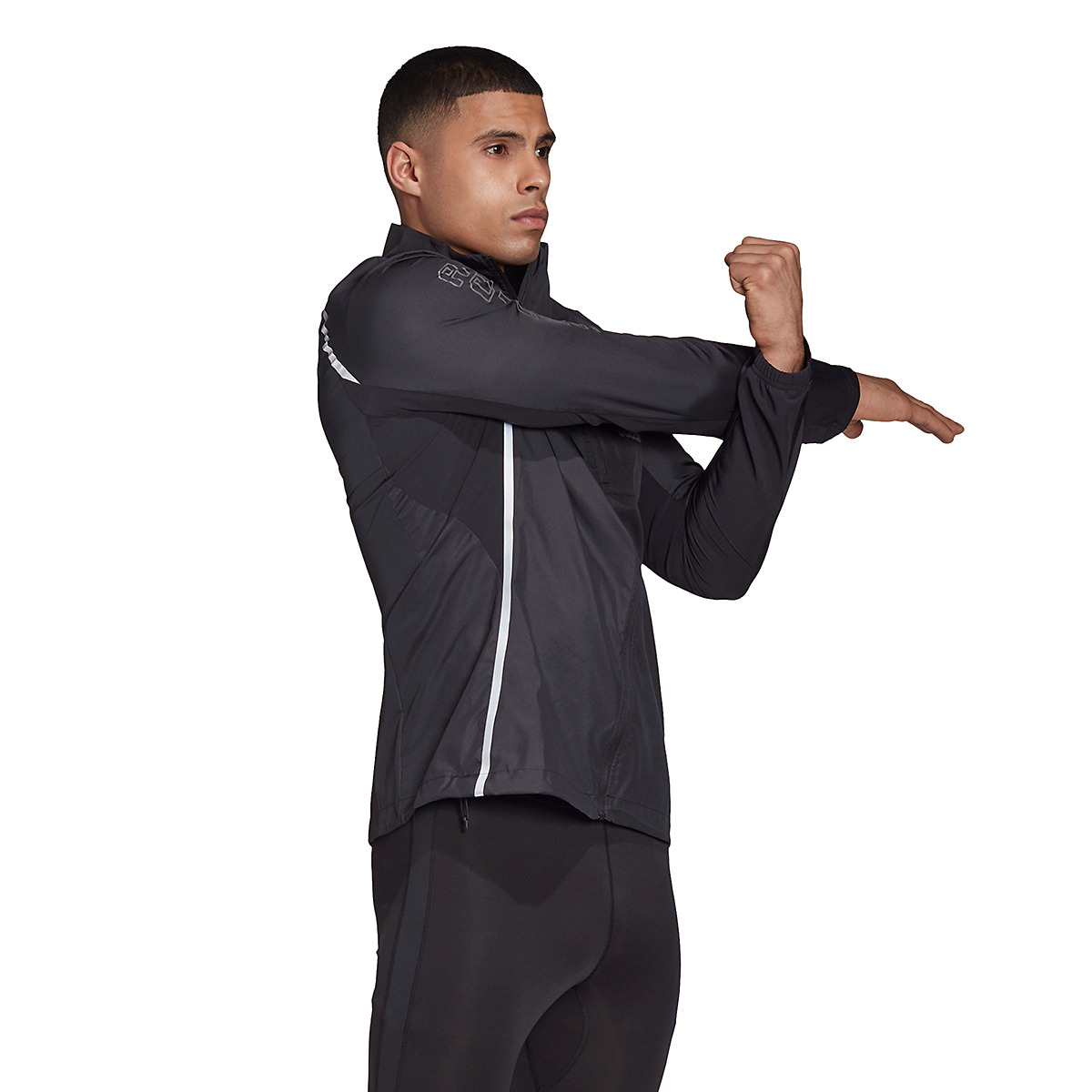 Men's Adidas Runner Night Ready Jacket - Color: Black - Size: S, Black, large, image 4