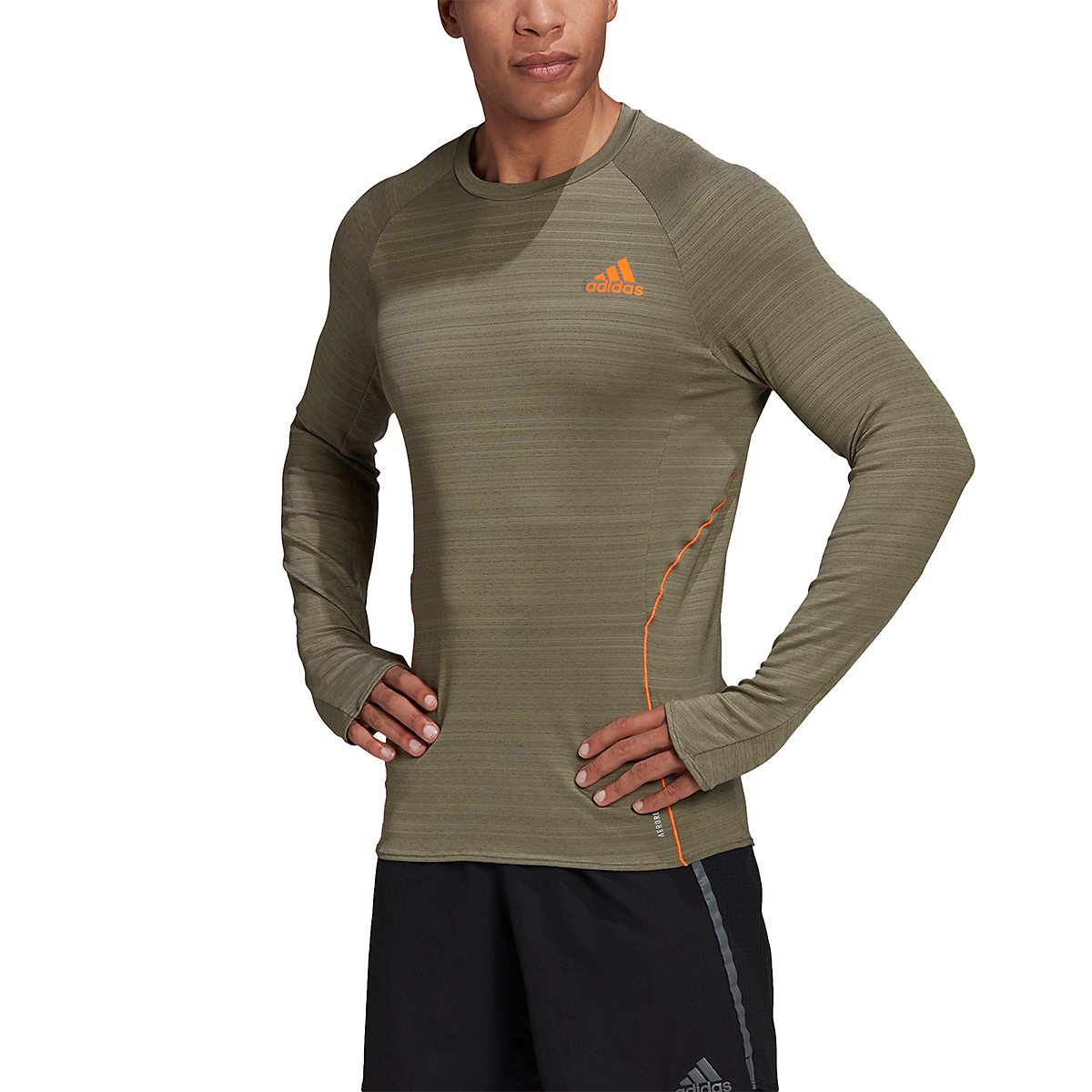 Men's Adidas Runner Long Sleeve Tee - Color: Legacy Green - Size: S, Legacy Green, large, image 1