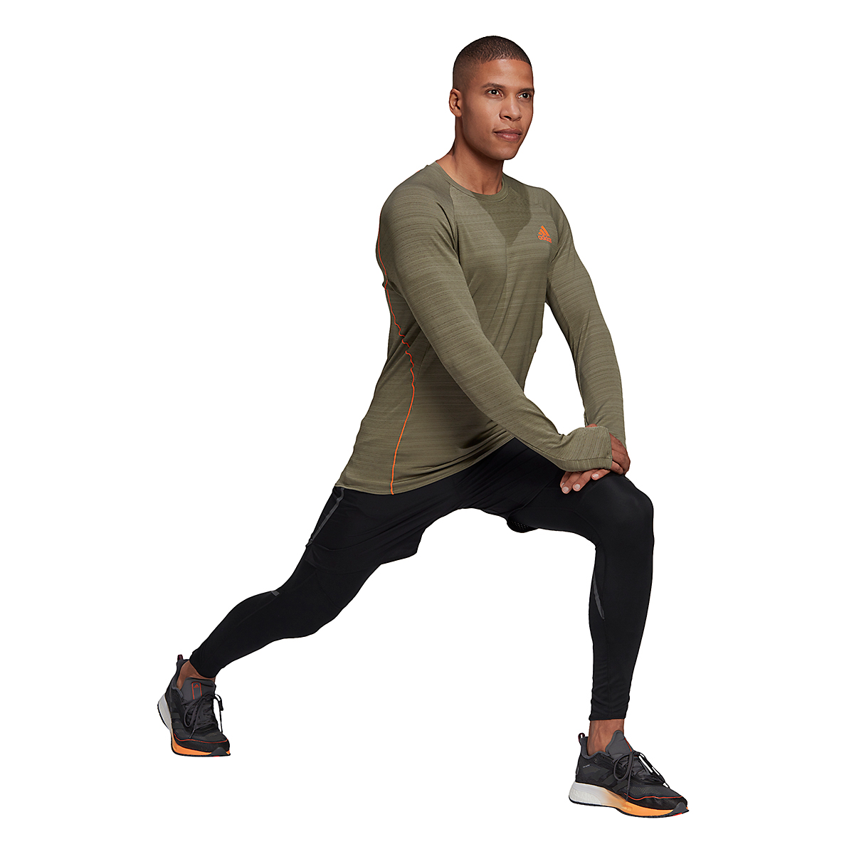Men's Adidas Runner Long Sleeve Tee - Color: Legacy Green - Size: S, Legacy Green, large, image 4