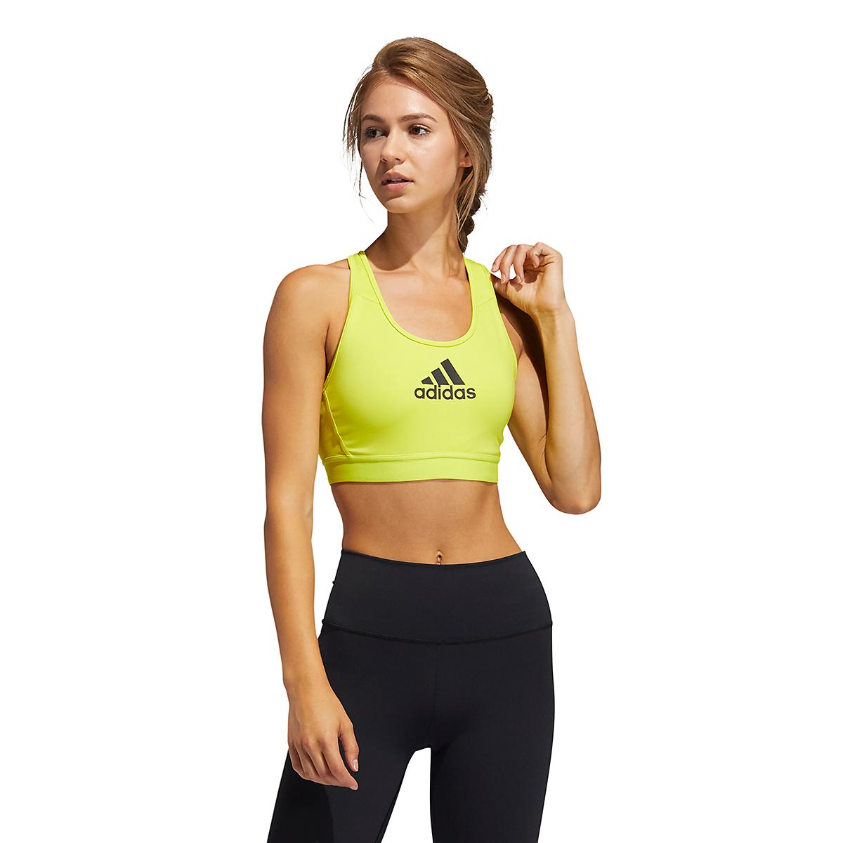 Women's Adidas Don't Rest Alphaskin Bra - Color: Acid Yellow - Size: XXS, Acid Yellow, large, image 1