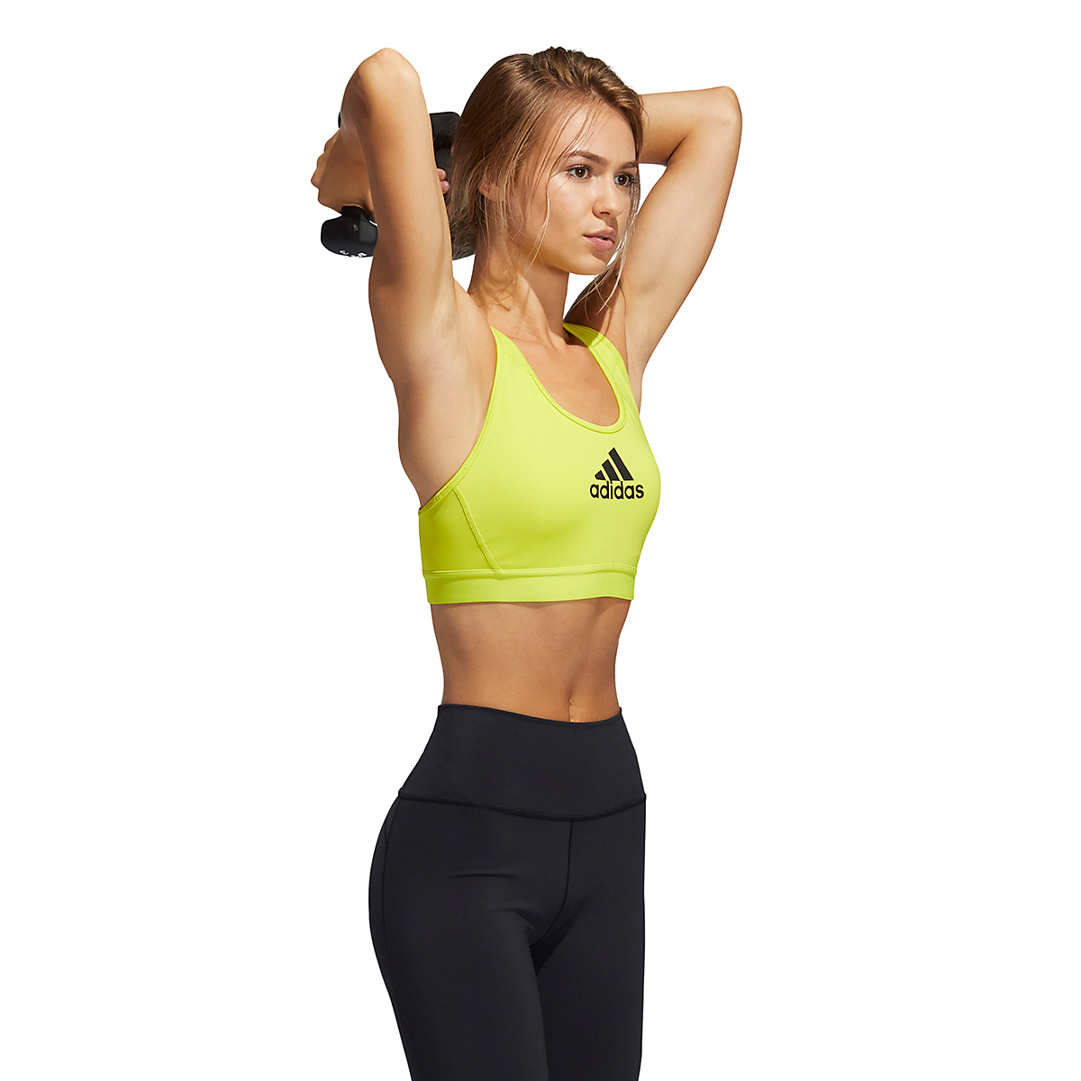 Women's Adidas Don't Rest Alphaskin Bra - Color: Acid Yellow - Size: XXS, Acid Yellow, large, image 3