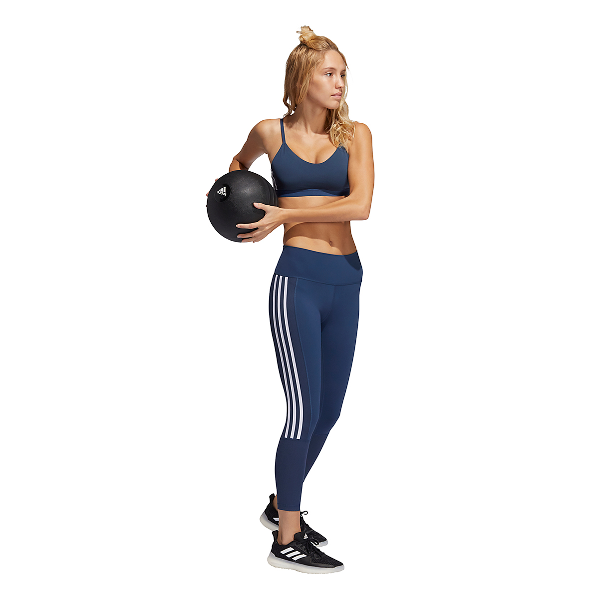 Women's Adidas All Me 3 Stripe Mesh Bra - Color: Navy - Size: XXS, Navy, large, image 3
