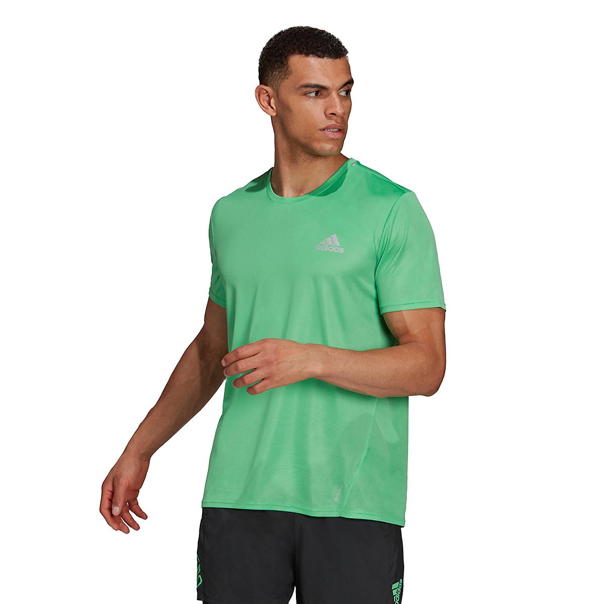 Men's Adidas Fast PrimeBlue Tee  - Color: Semi Screaming Green/Reflective Silver - Size: XS, Semi Screaming Green/Reflective Silver, large, image 1