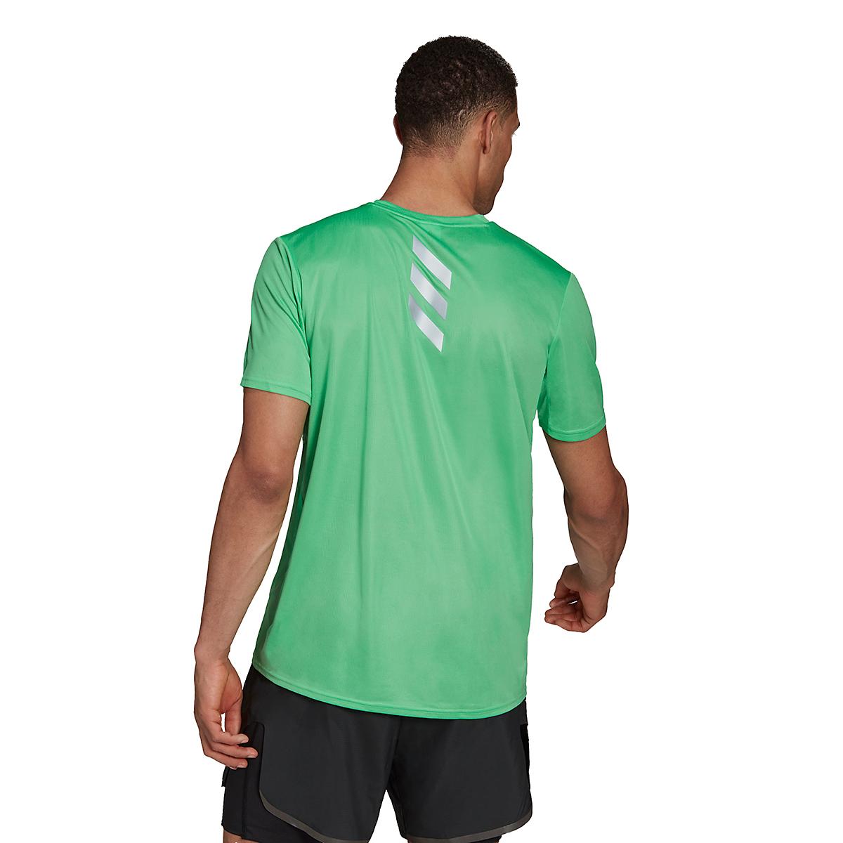 Men's Adidas Fast PrimeBlue Tee  - Color: Semi Screaming Green/Reflective Silver - Size: XS, Semi Screaming Green/Reflective Silver, large, image 2