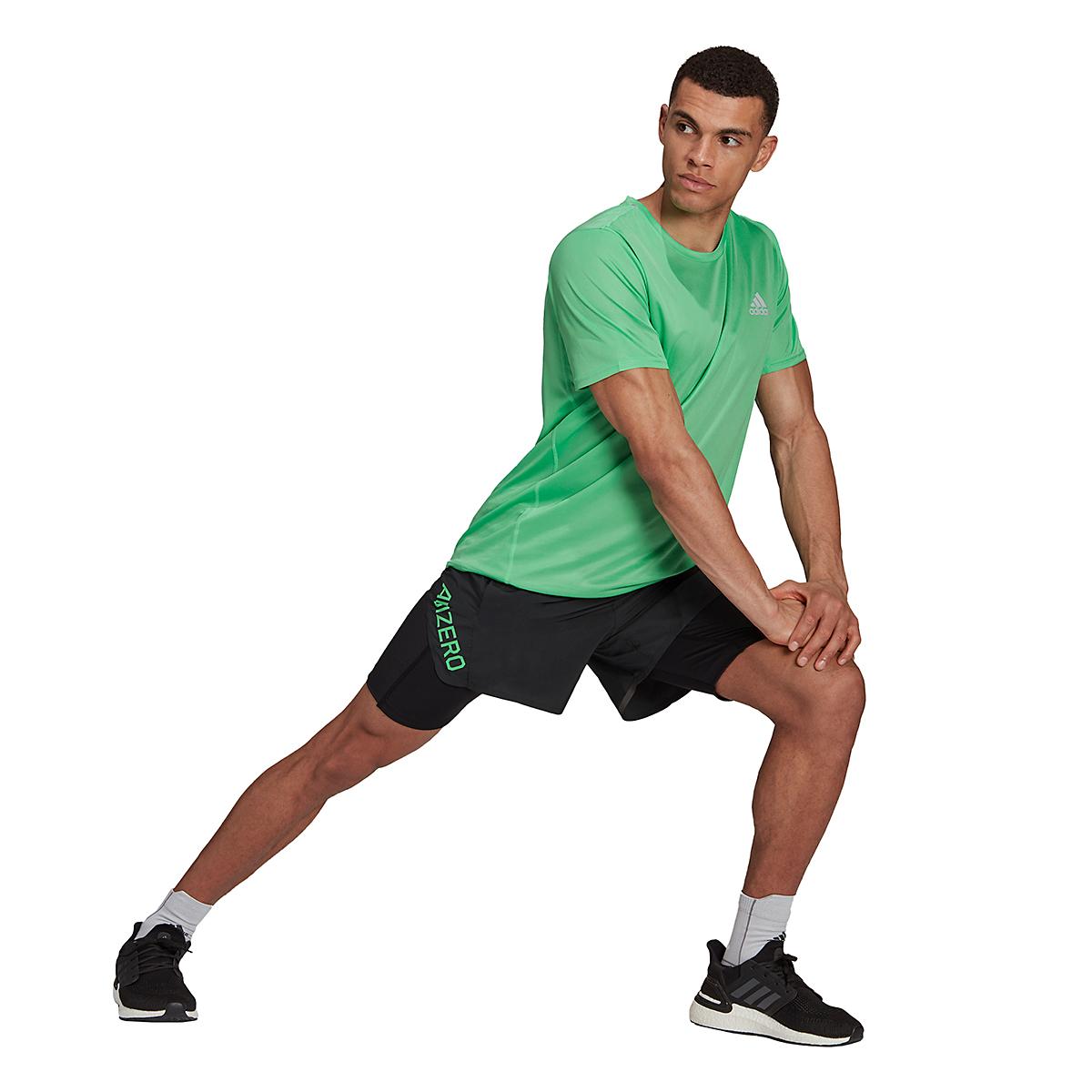 Men's Adidas Fast PrimeBlue Tee  - Color: Semi Screaming Green/Reflective Silver - Size: XS, Semi Screaming Green/Reflective Silver, large, image 3