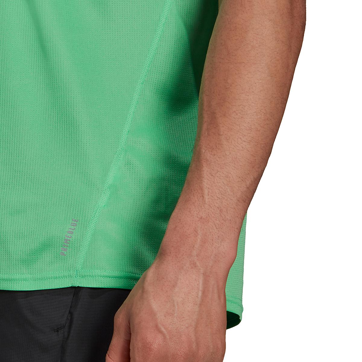 Men's Adidas Fast PrimeBlue Tee  - Color: Semi Screaming Green/Reflective Silver - Size: XS, Semi Screaming Green/Reflective Silver, large, image 4