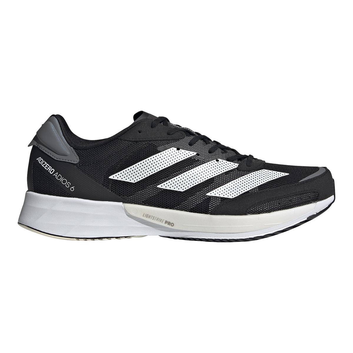 Men's Adidas Adizero Adios 6 Running Shoe - Color: Black/White/Grey - Size: 6 - Width: Regular, Black/White/Grey, large, image 1