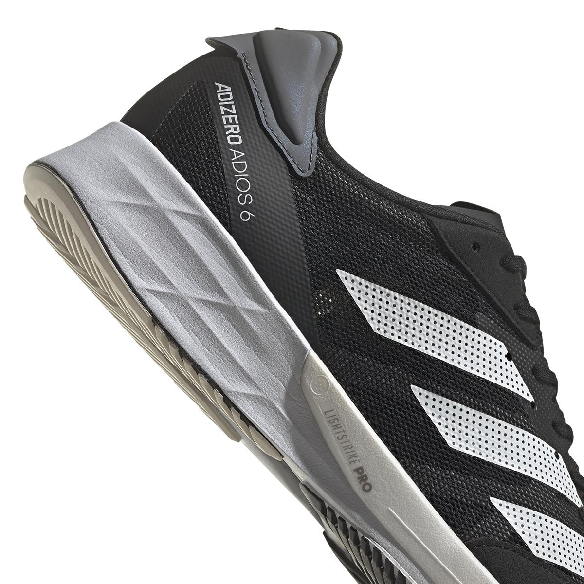 Men's Adidas Adizero Adios 6 Running Shoe - Color: Black/White/Grey - Size: 6 - Width: Regular, Black/White/Grey, large, image 3