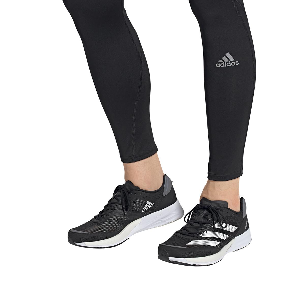 Men's Adidas Adizero Adios 6 Running Shoe - Color: Black/White/Grey - Size: 6 - Width: Regular, Black/White/Grey, large, image 5