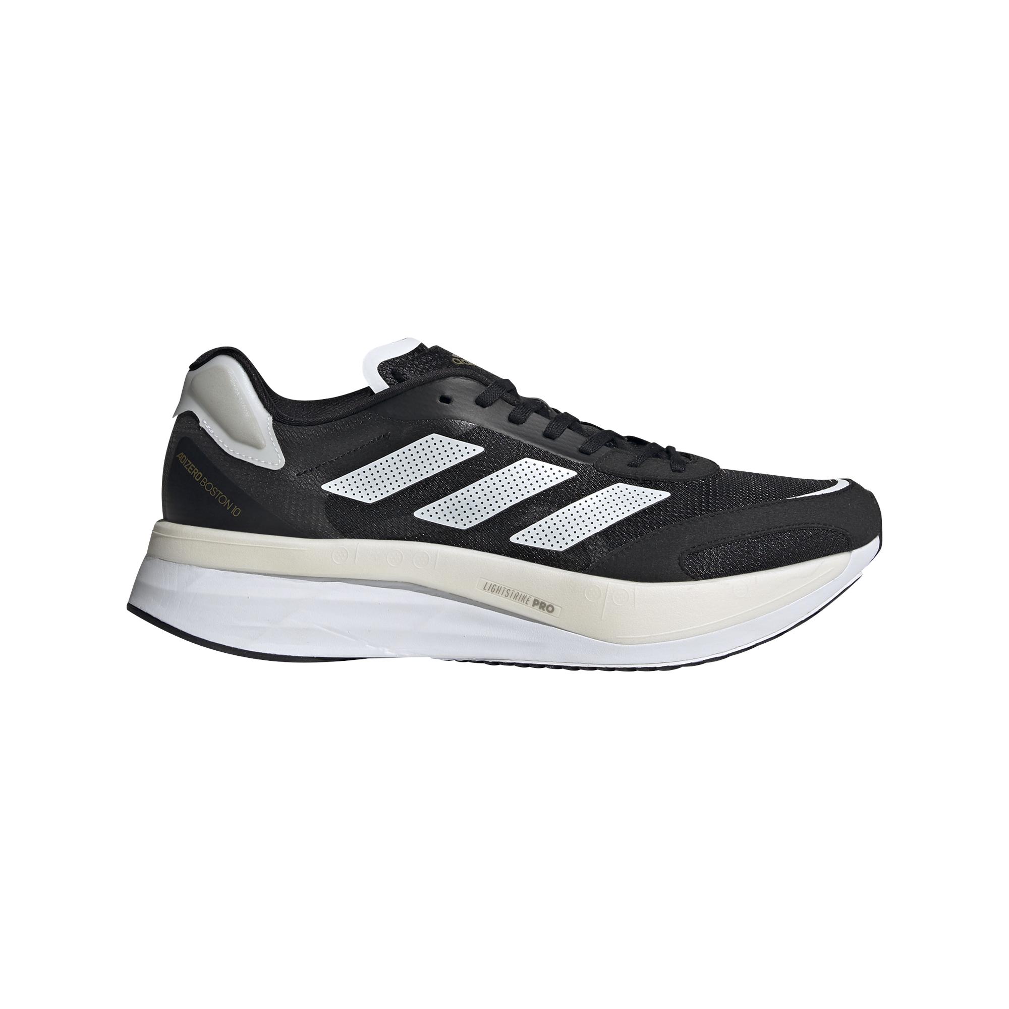 Men's Adidas Adizero Boston 10 Running Shoe - Color: Core Black / Cloud White / Gold Metallic - Size: 6.5 - Width: Regular, Core Black / Cloud White / Gold Metallic, large, image 1
