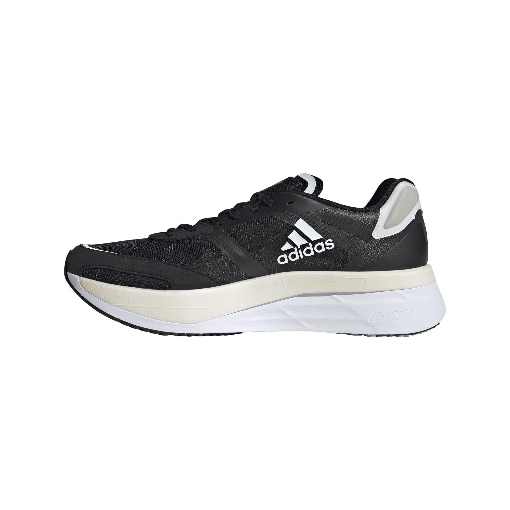 Men's Adidas Adizero Boston 10 Running Shoe - Color: Core Black / Cloud White / Gold Metallic - Size: 6.5 - Width: Regular, Core Black / Cloud White / Gold Metallic, large, image 2