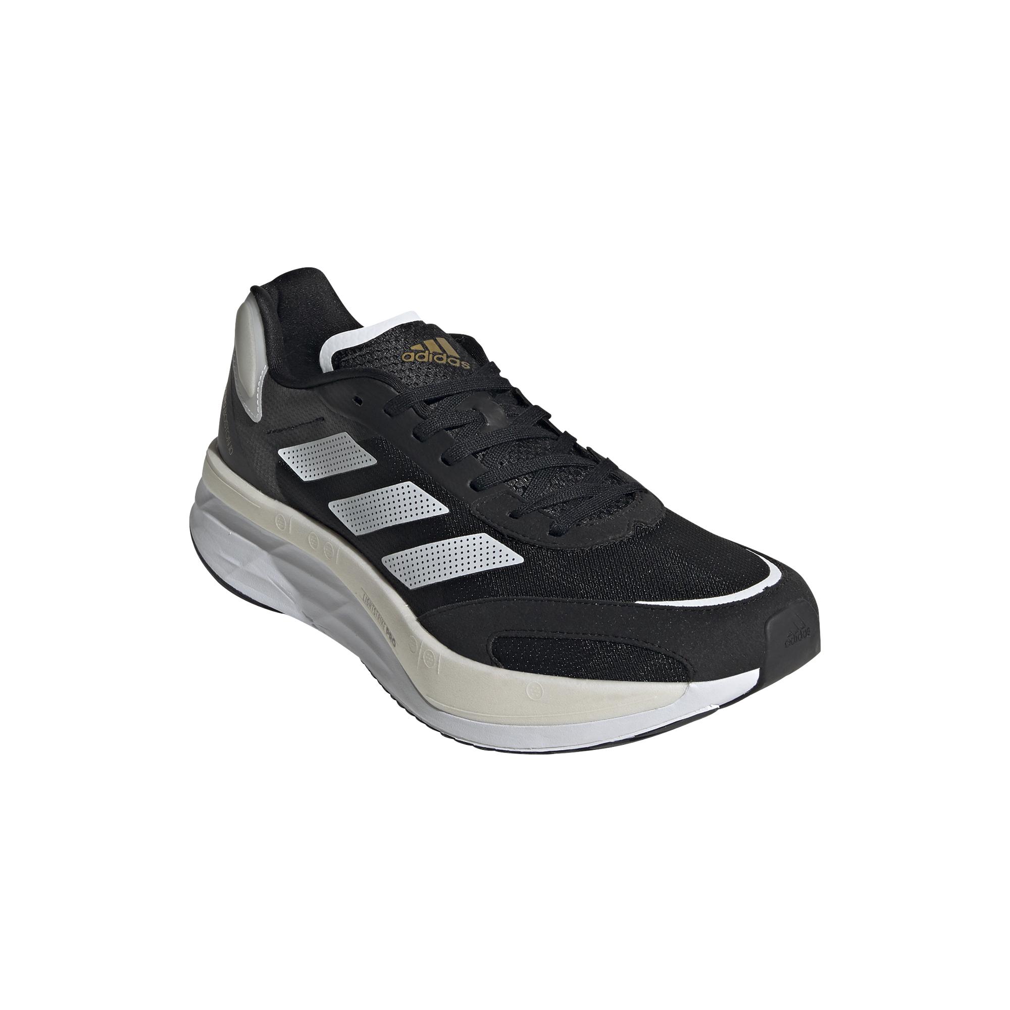 Men's Adidas Adizero Boston 10 Running Shoe - Color: Core Black / Cloud White / Gold Metallic - Size: 6.5 - Width: Regular, Core Black / Cloud White / Gold Metallic, large, image 5