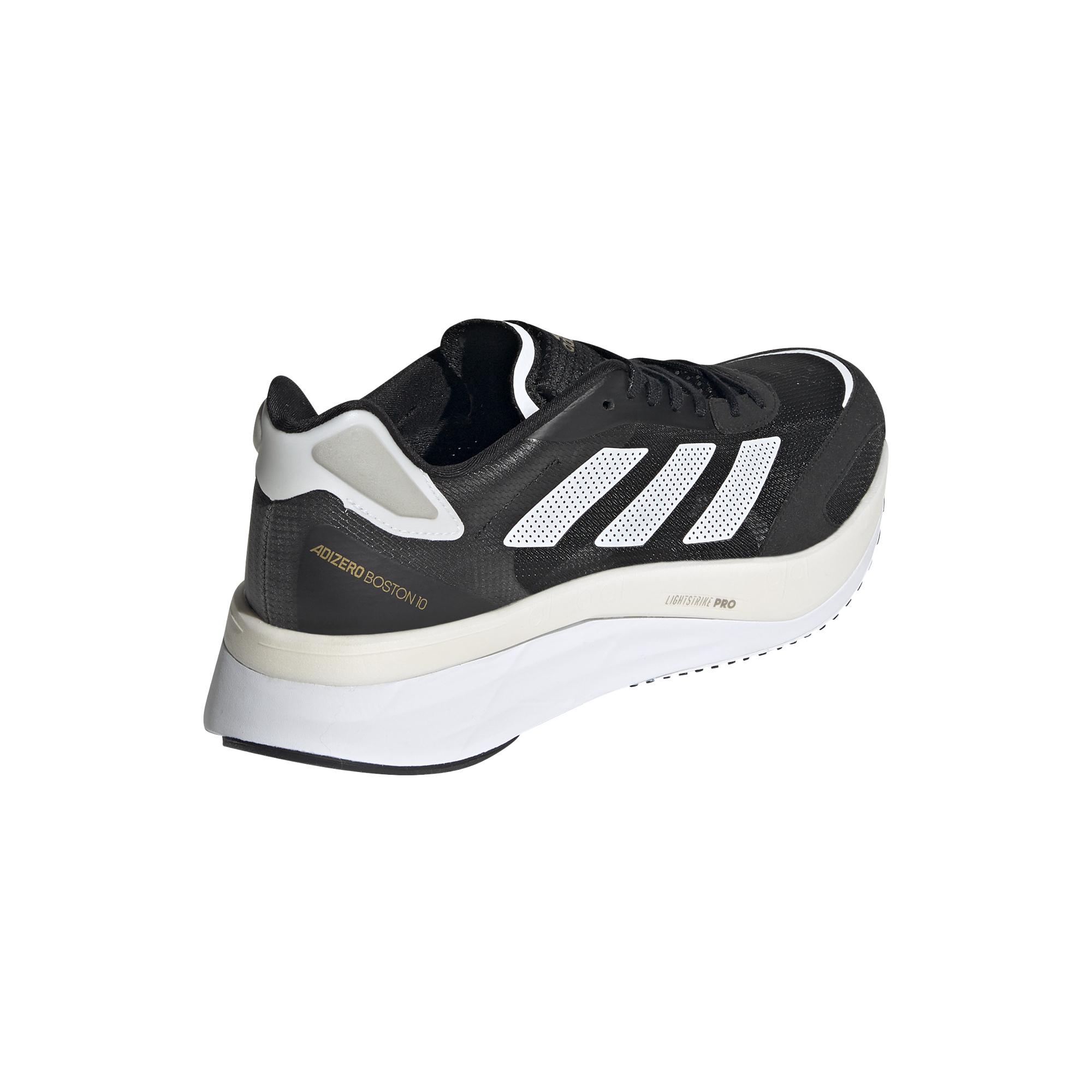 Men's Adidas Adizero Boston 10 Running Shoe - Color: Core Black / Cloud White / Gold Metallic - Size: 6.5 - Width: Regular, Core Black / Cloud White / Gold Metallic, large, image 6