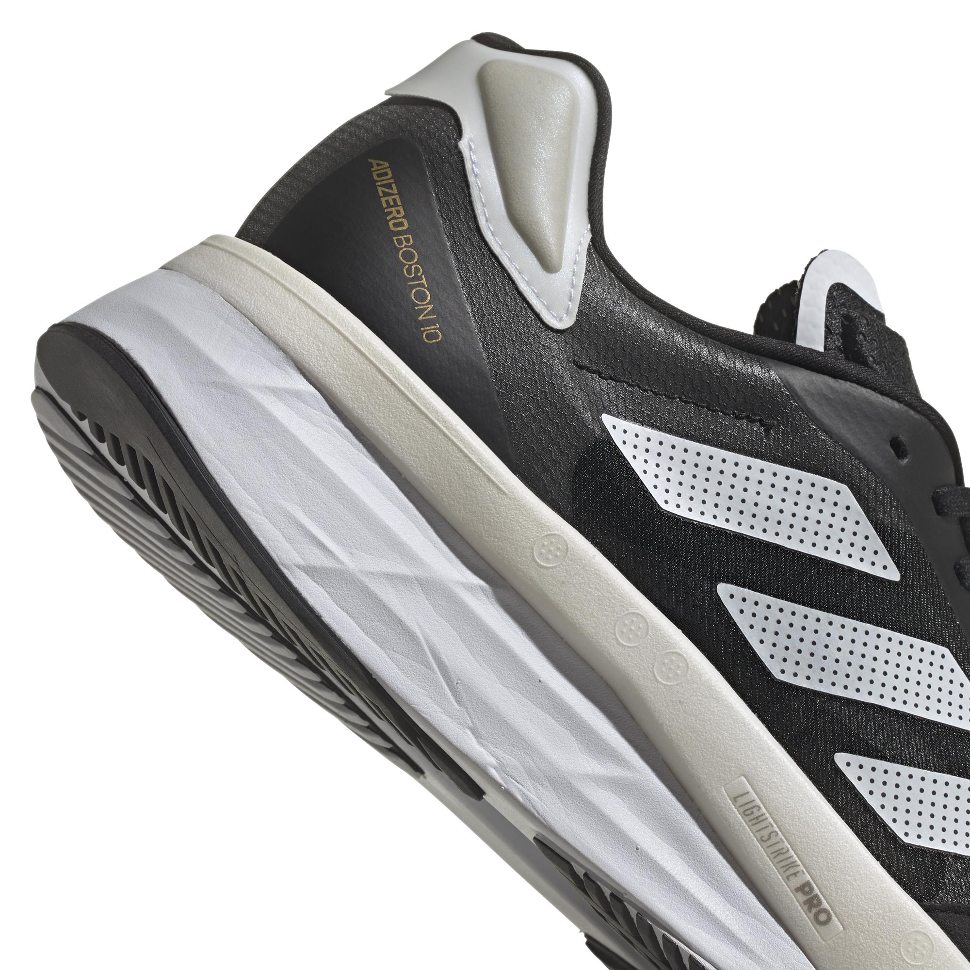 Men's Adidas Adizero Boston 10 Running Shoe - Color: Core Black / Cloud White / Gold Metallic - Size: 6.5 - Width: Regular, Core Black / Cloud White / Gold Metallic, large, image 7