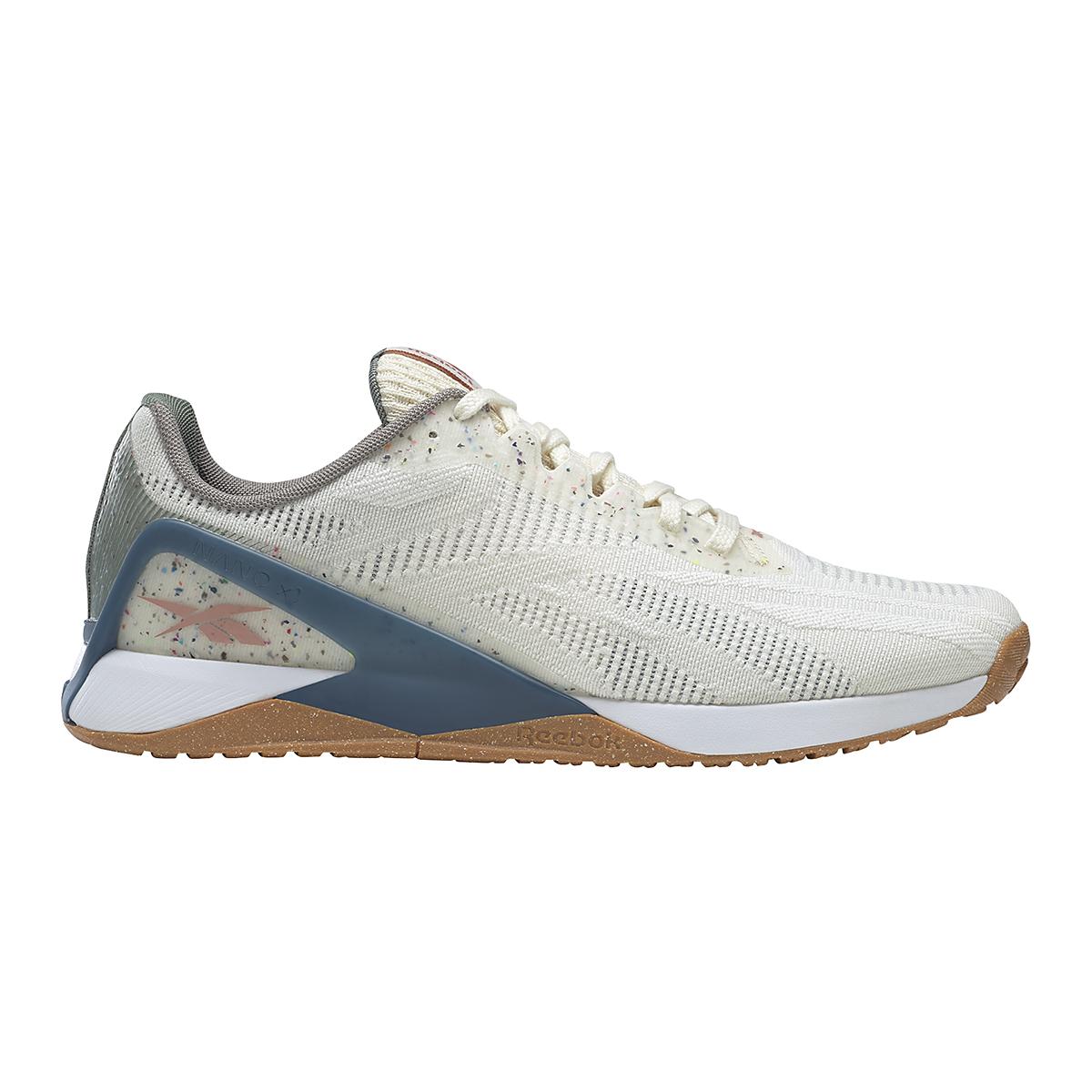Men's Reebok Nano X1 Vegan Training Shoe - Color: Classic White/Harmony Green/Brave Blue - Size: 7.5 - Width: Regular, Classic White/Harmony Green/Brave Blue, large, image 1