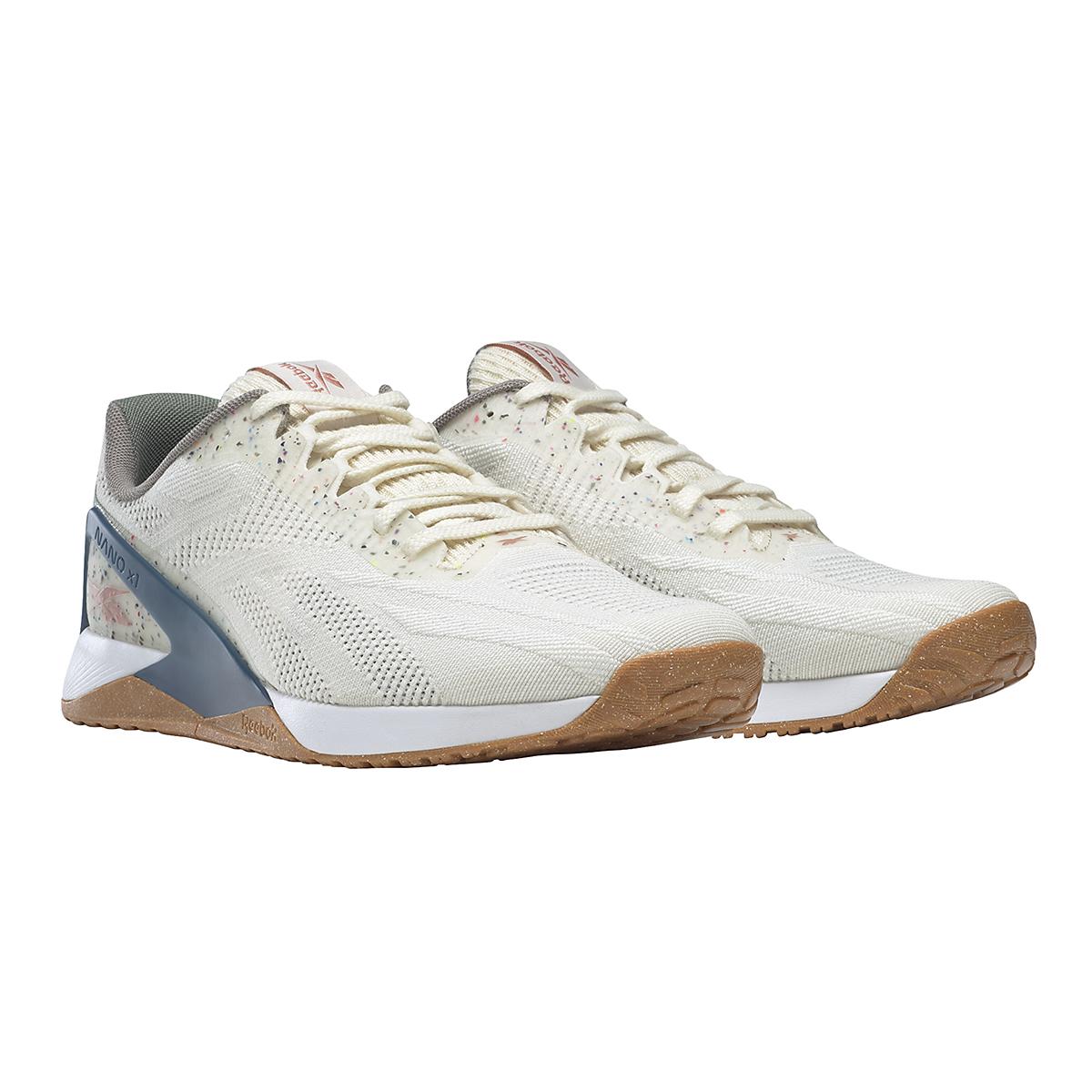 Men's Reebok Nano X1 Vegan Training Shoe - Color: Classic White/Harmony Green/Brave Blue - Size: 7.5 - Width: Regular, Classic White/Harmony Green/Brave Blue, large, image 3
