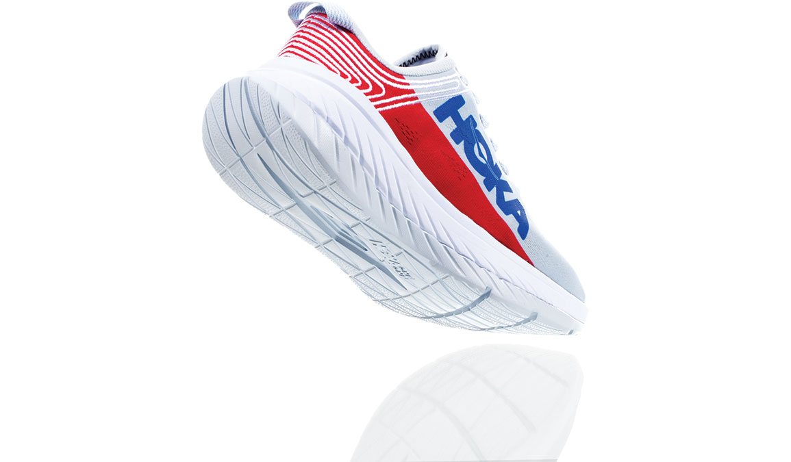Women's Hoka One One Carbon X Running Shoe - Color: Plein Air/Poppy Red (Regular Width) - Size: 6, Plein Air/Poppy Red, large, image 3