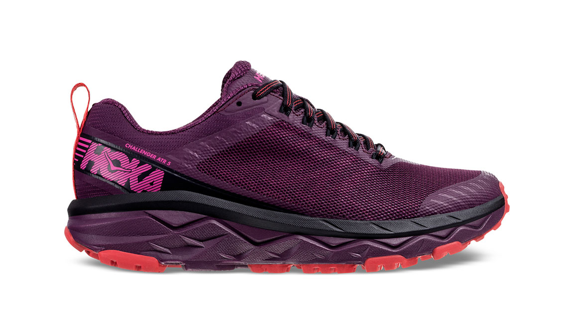 Women's Hoka One One Challenger ATR 5 Trail Running Shoe - Color: Italian Plum/Poppy Red (Regular Width) - Size: 5, Italian Plum/Poppy Red, large, image 1