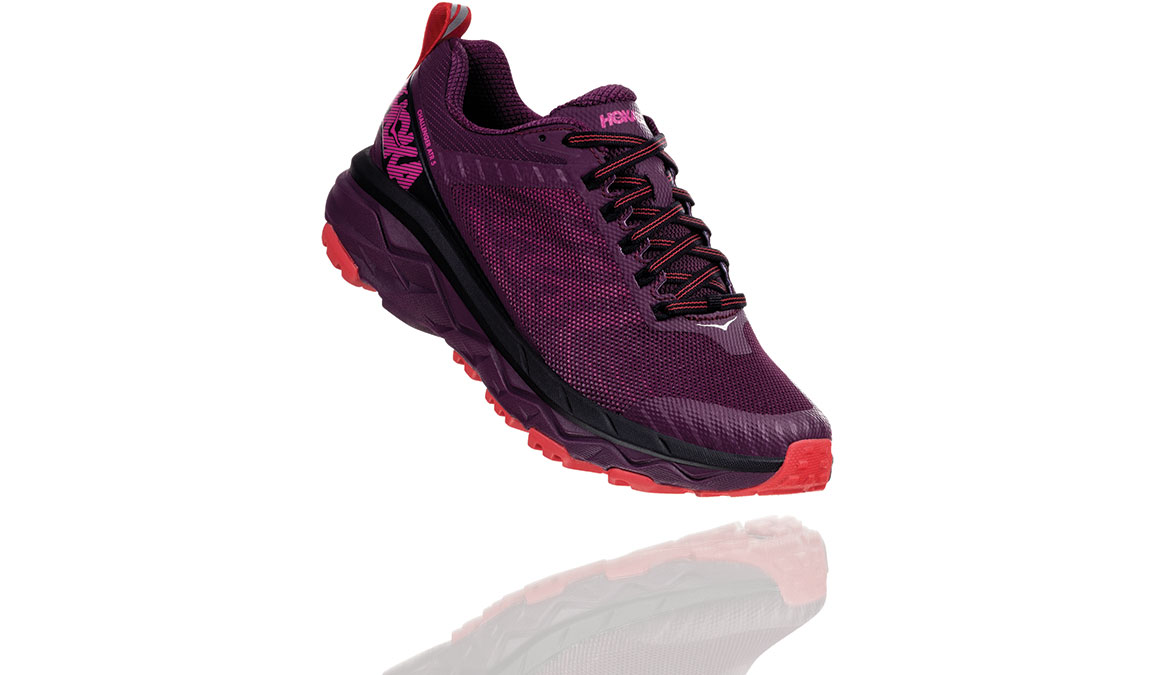 Women's Hoka One One Challenger ATR 5 Trail Running Shoe - Color: Italian Plum/Poppy Red (Regular Width) - Size: 5, Italian Plum/Poppy Red, large, image 2