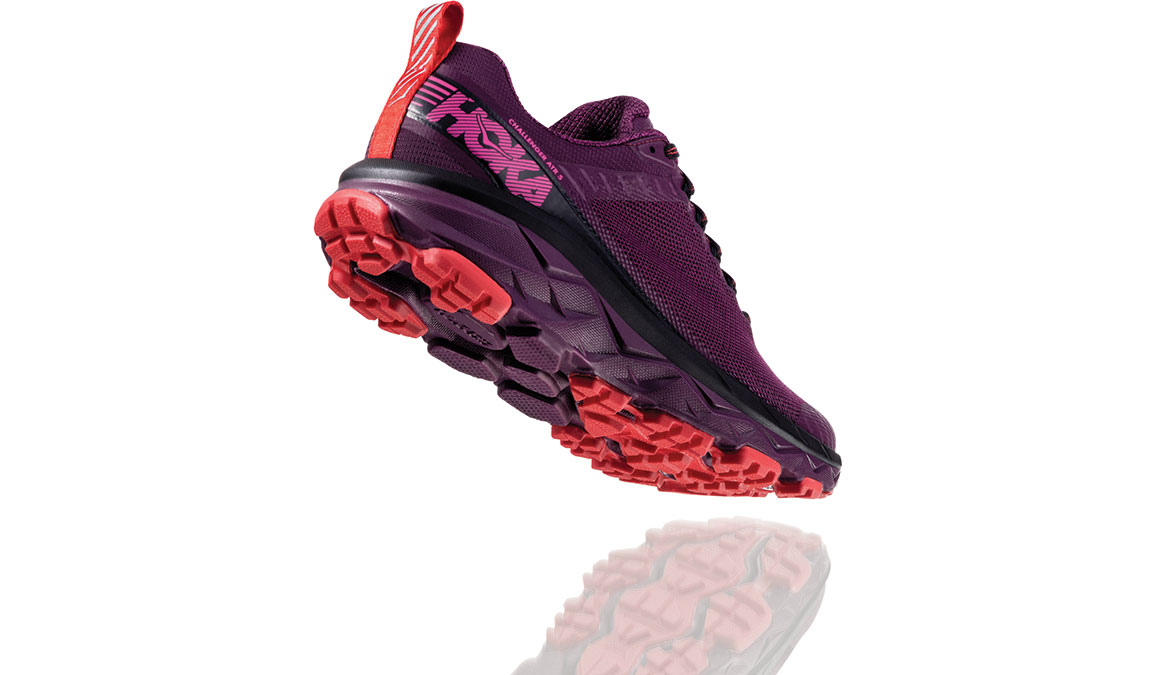 Women's Hoka One One Challenger ATR 5 Trail Running Shoe - Color: Italian Plum/Poppy Red (Regular Width) - Size: 5, Italian Plum/Poppy Red, large, image 3