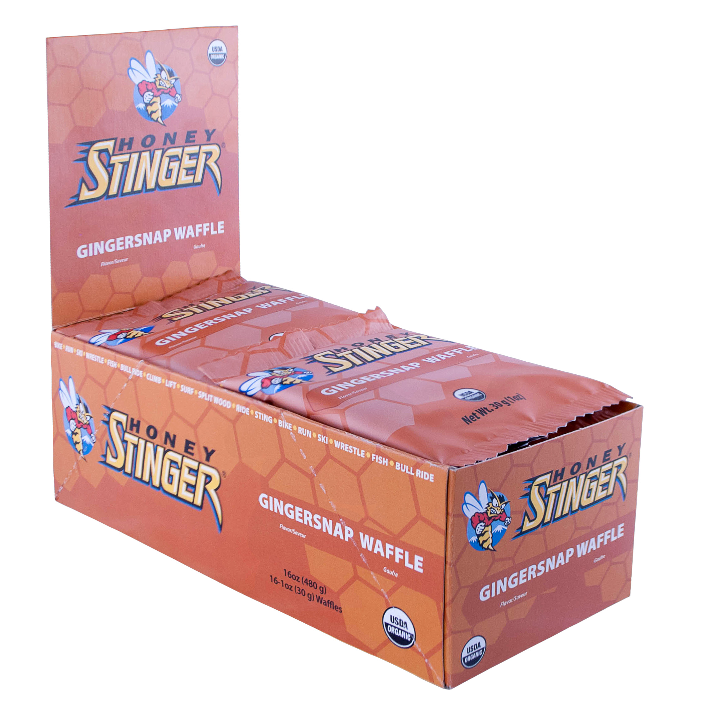 Honey Stinger Waffles Box of 16 Gingersnap, Gingersnap, large, image 1