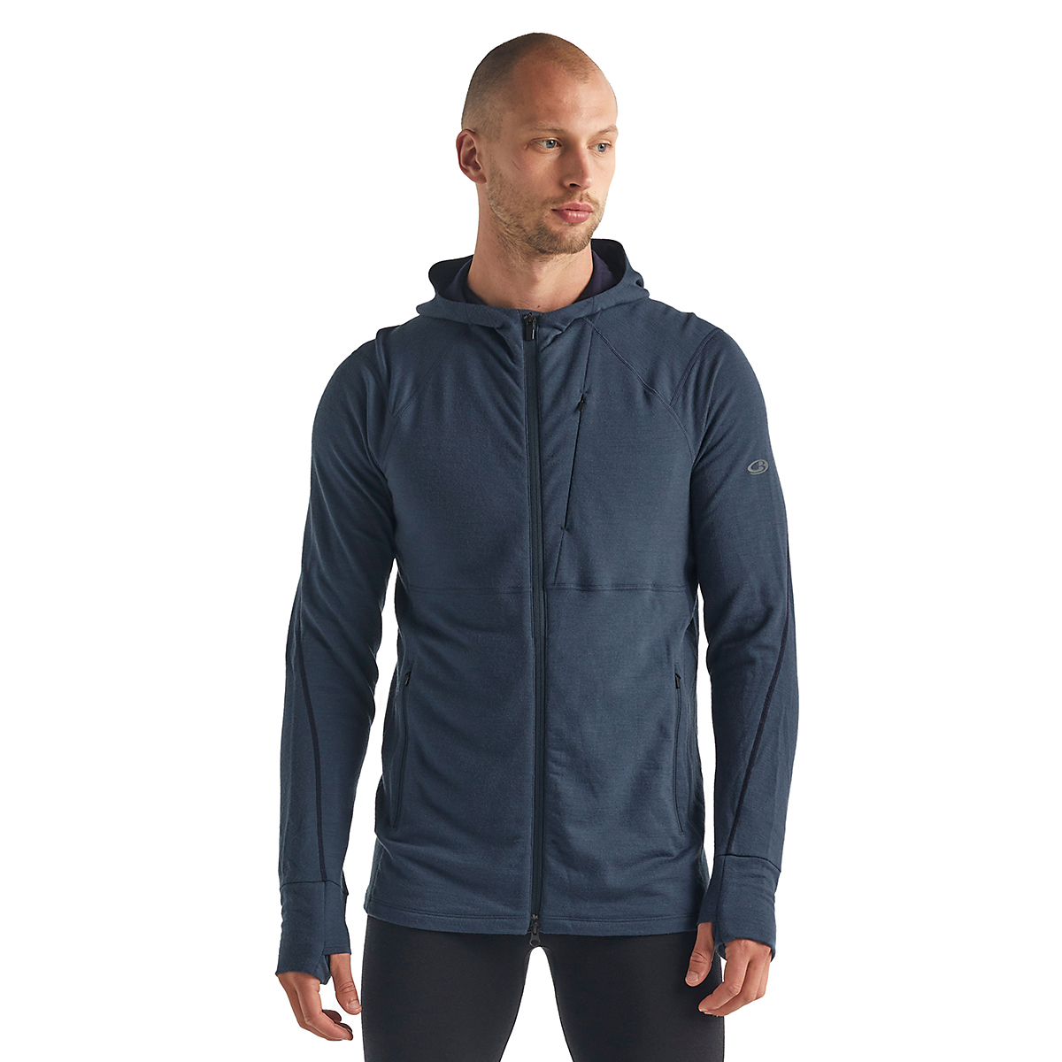 Men's Icebreaker Merino Quantum II Long Sleeve Zip Hood Jacket - Color: Serene Blue - Size: S, Serene Blue, large, image 1