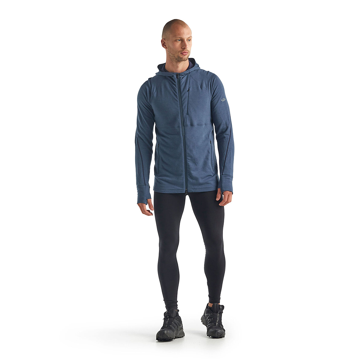 Men's Icebreaker Merino Quantum II Long Sleeve Zip Hood Jacket - Color: Serene Blue - Size: S, Serene Blue, large, image 3