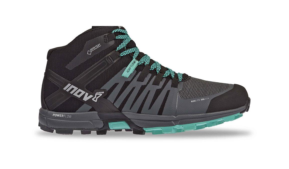 Women's Inov-8 Roclite 320 Gore-Tex Trail Running Shoe - Color: Black/Grey/Teal (Regular Width) - Size: 6.5, Black/Teal, large, image 1
