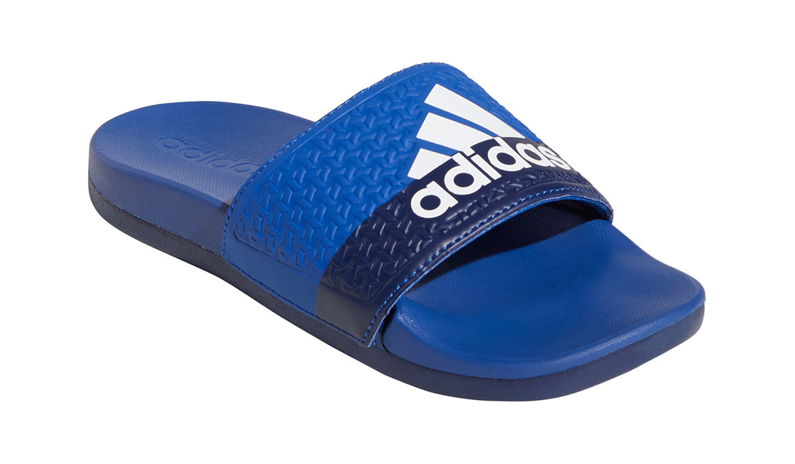 Kids Adidas Adilette Cloudfoam Plus Slides - Color: Royal/White/Blue (Regular Width) - Size: 1, Royal/White/Blue, large, image 2
